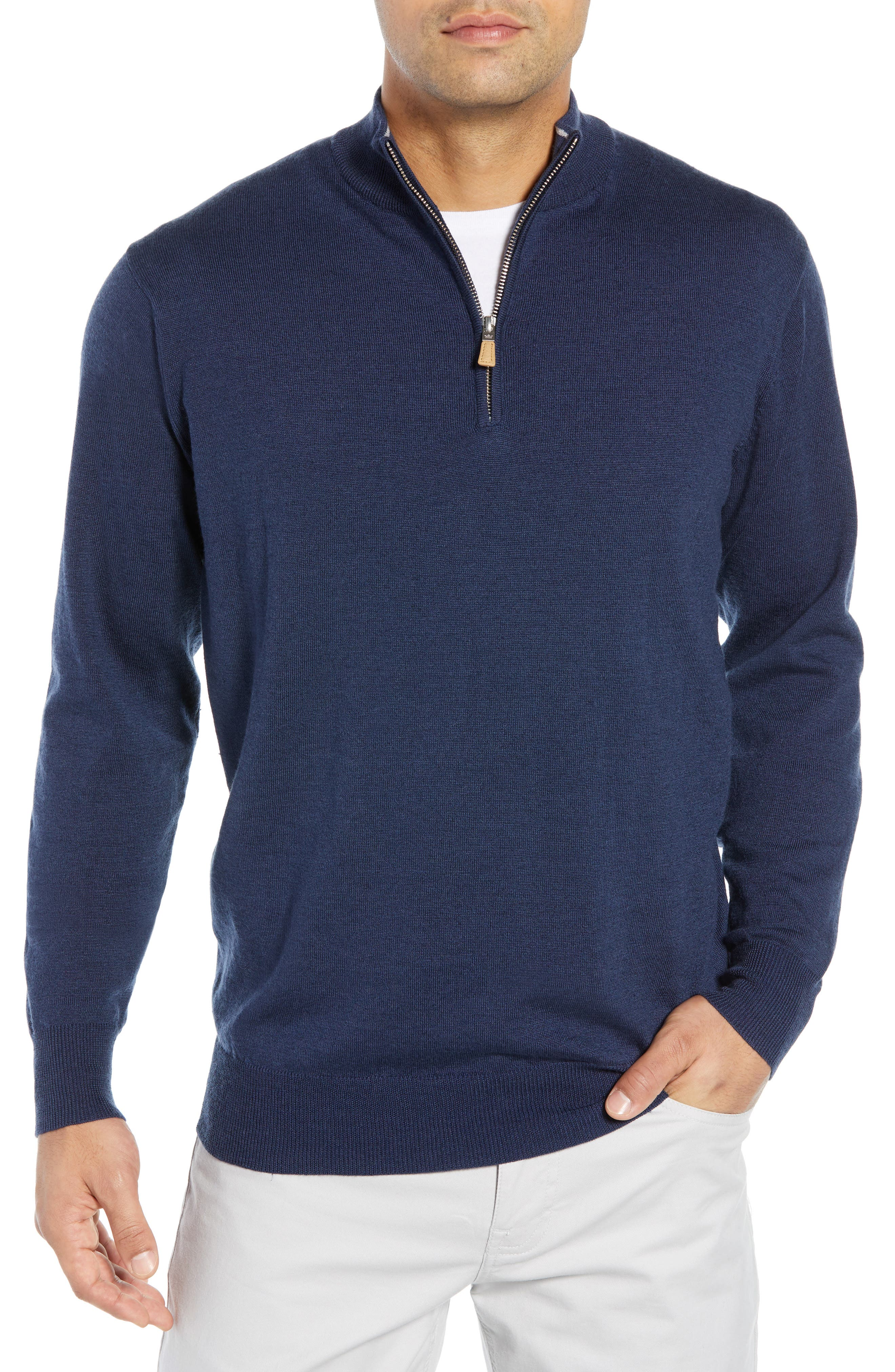 PETER MILLAR Regular Fit Half Zip Wool & Linen Pullover, Main, color, 410