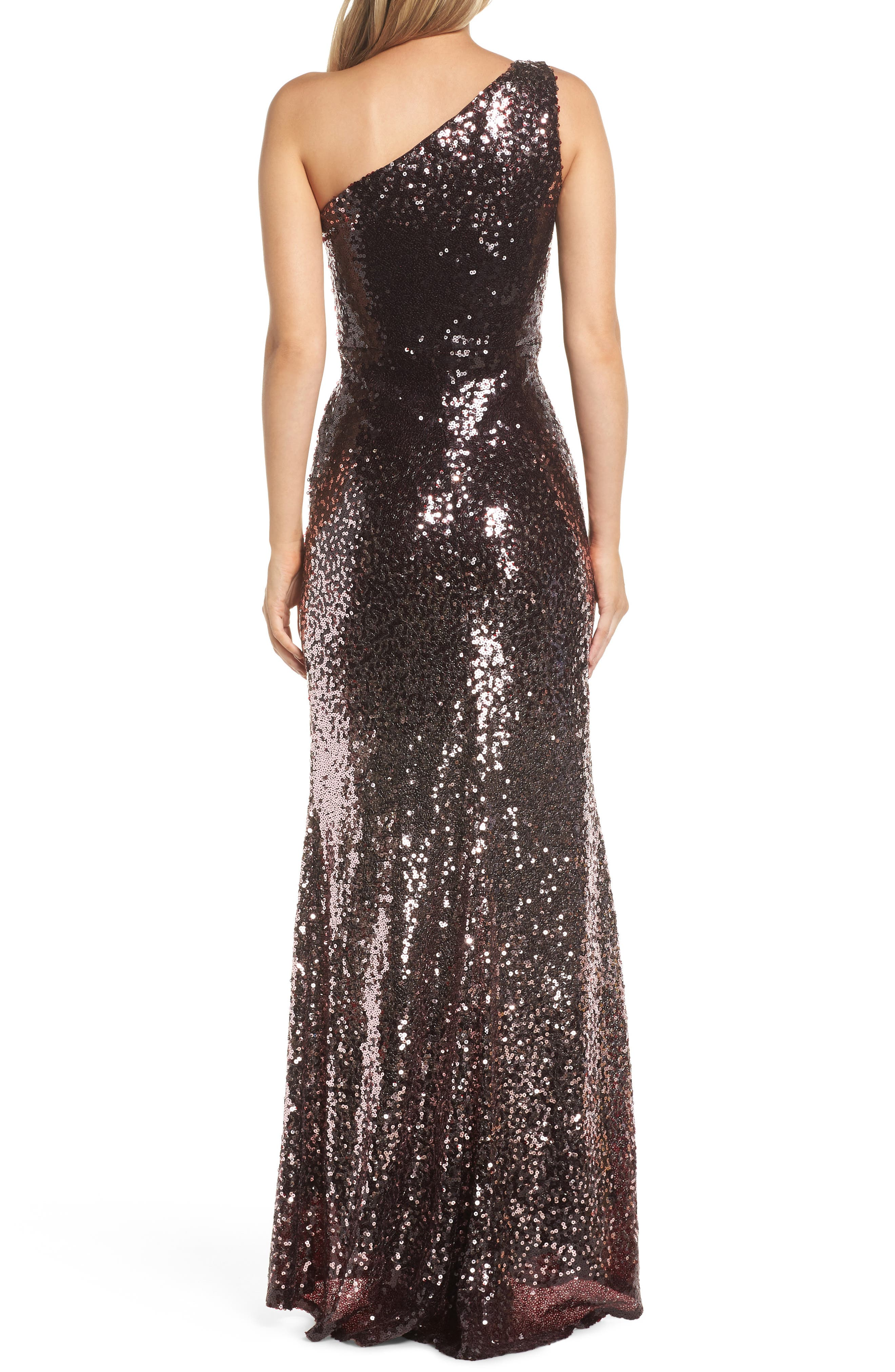 One-Shoulder Sequin Gown,                             Alternate thumbnail 2, color,                             WINE