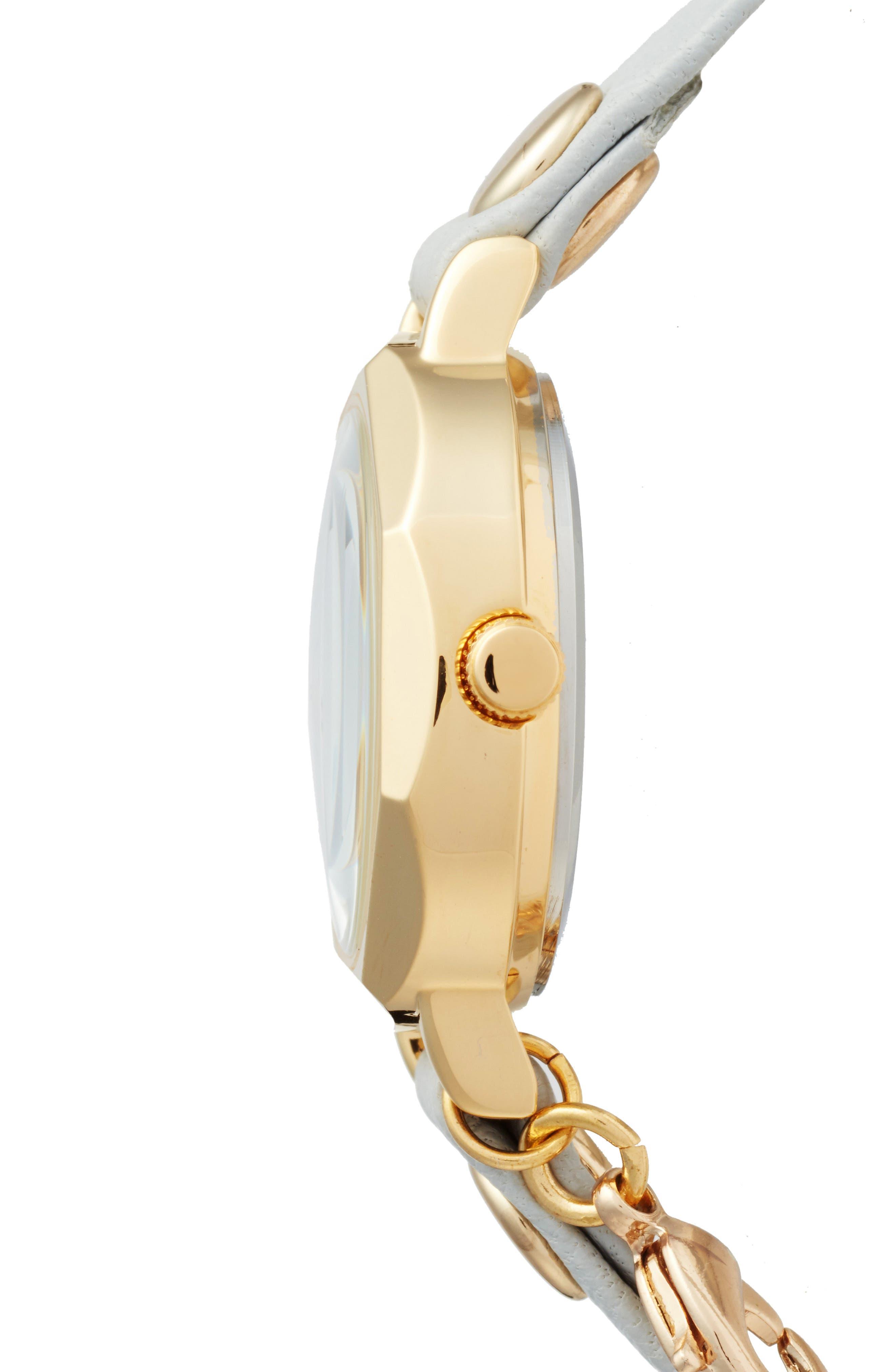 La Mer Nolita Leather Wrap Strap Watch, 22mm,                             Alternate thumbnail 3, color,                             STONE/WHITE/GOLD