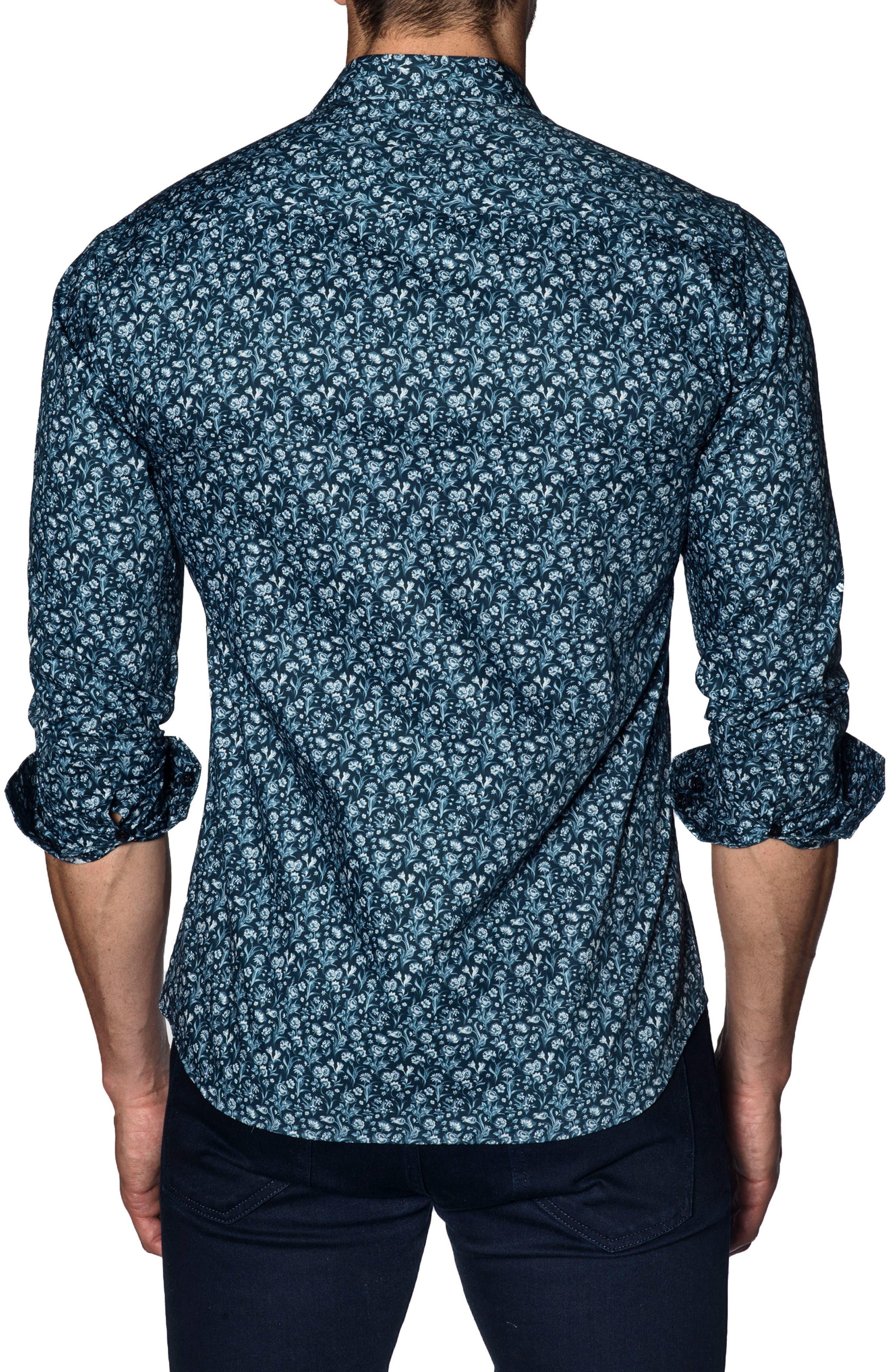 Trim Fit Sport Shirt,                             Alternate thumbnail 2, color,                             BLUE FLORAL