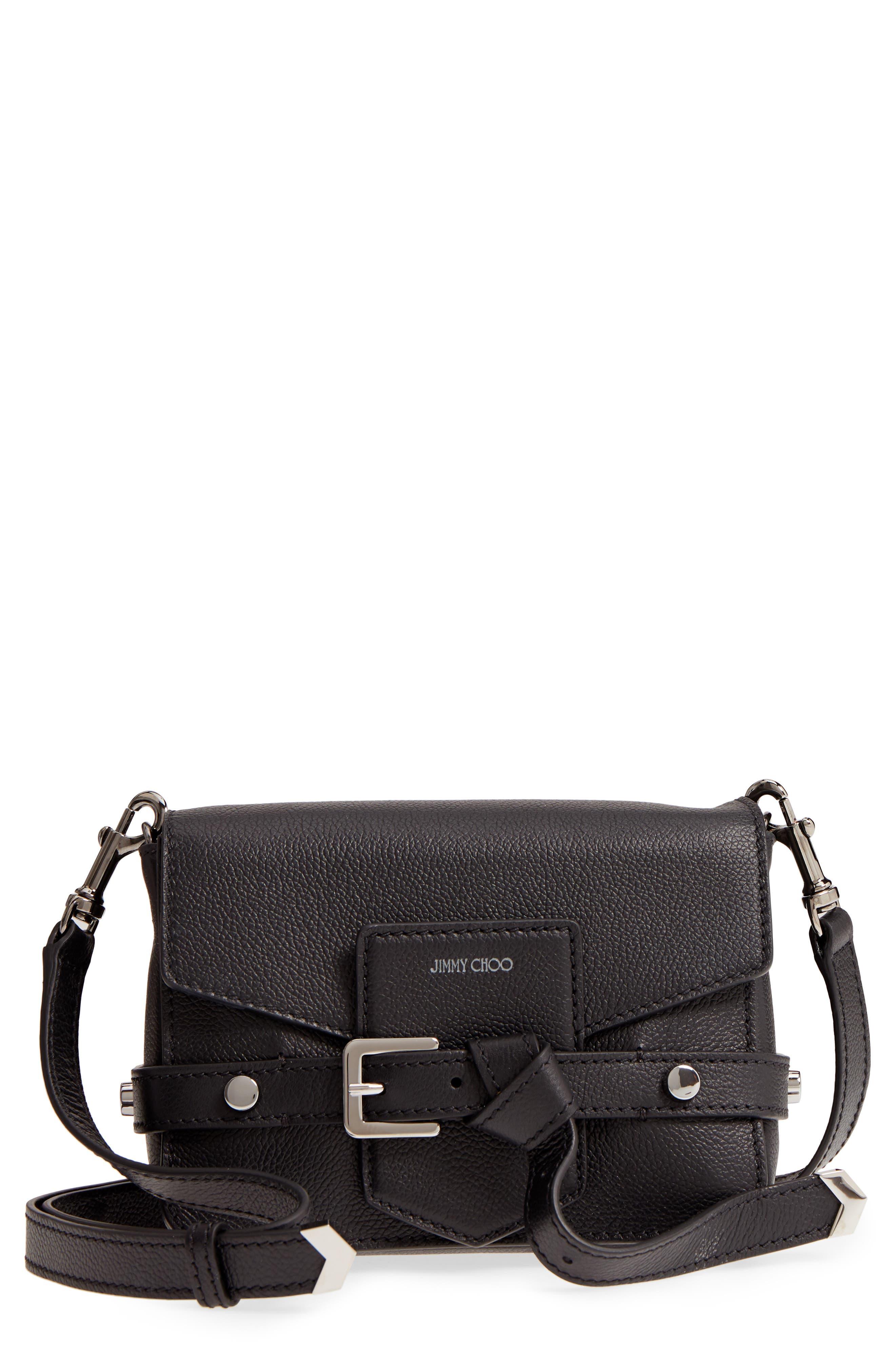 Lexi Grained Leather Crossbody Bag, Main, color, BLACK