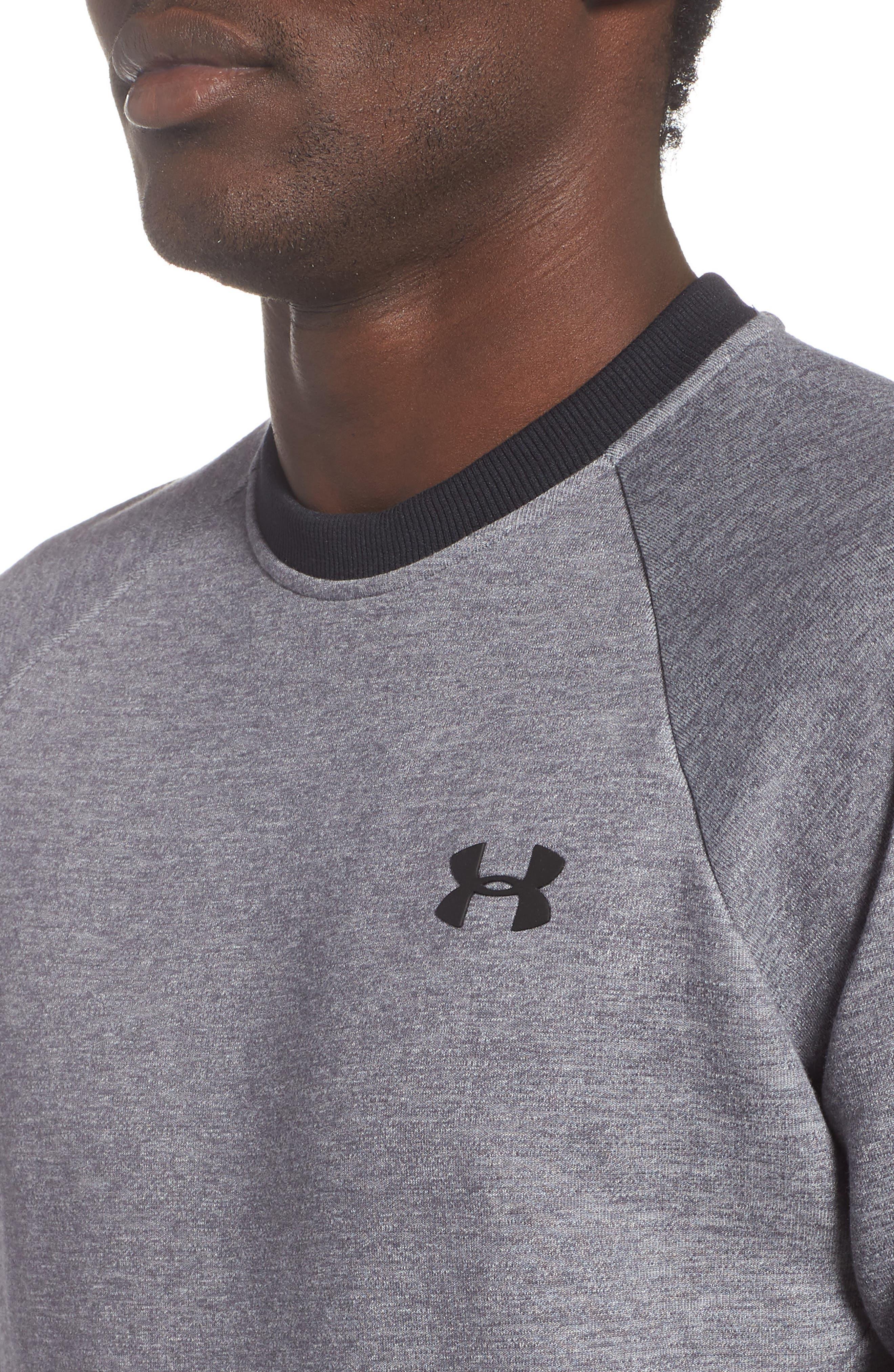 UNDER ARMOUR,                             Sportstyle 2x Crew Sweatshirt,                             Alternate thumbnail 4, color,                             STEEL