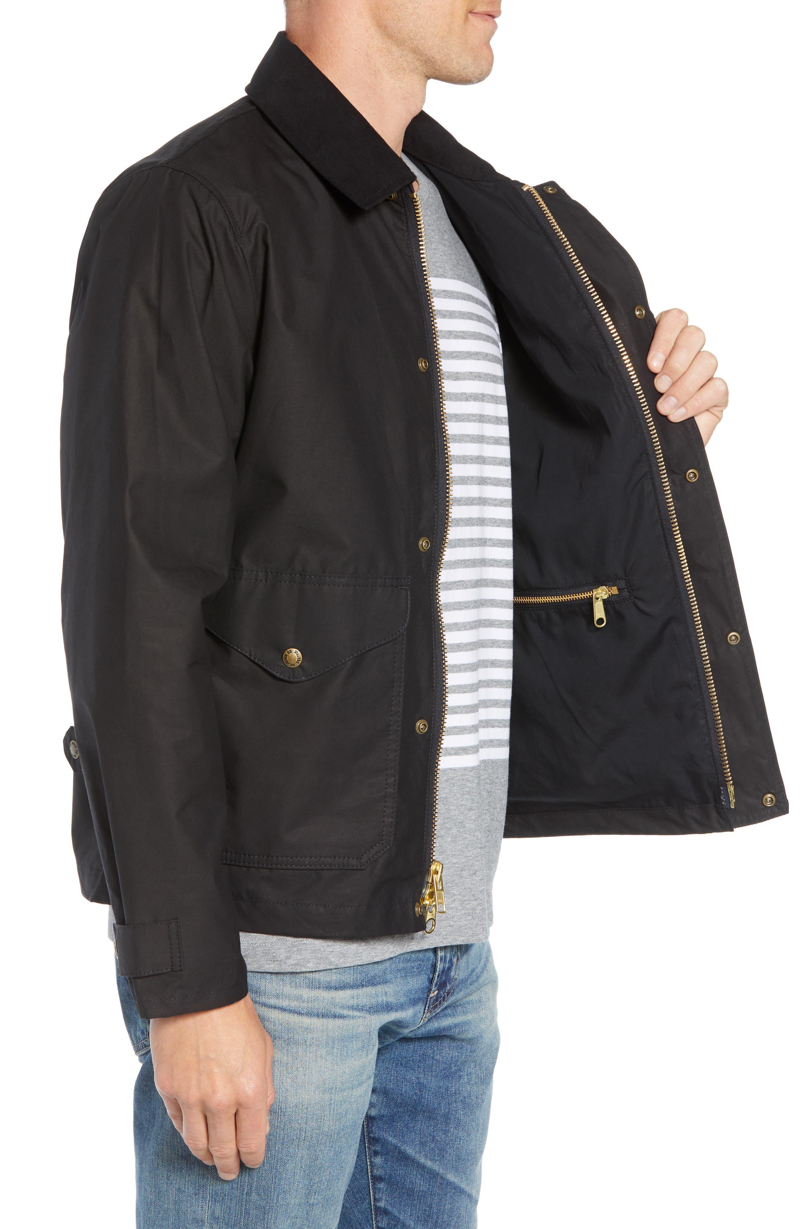 Short Mile Marker Waxed Cotton Jacket,                             Alternate thumbnail 3, color,                             BLACK