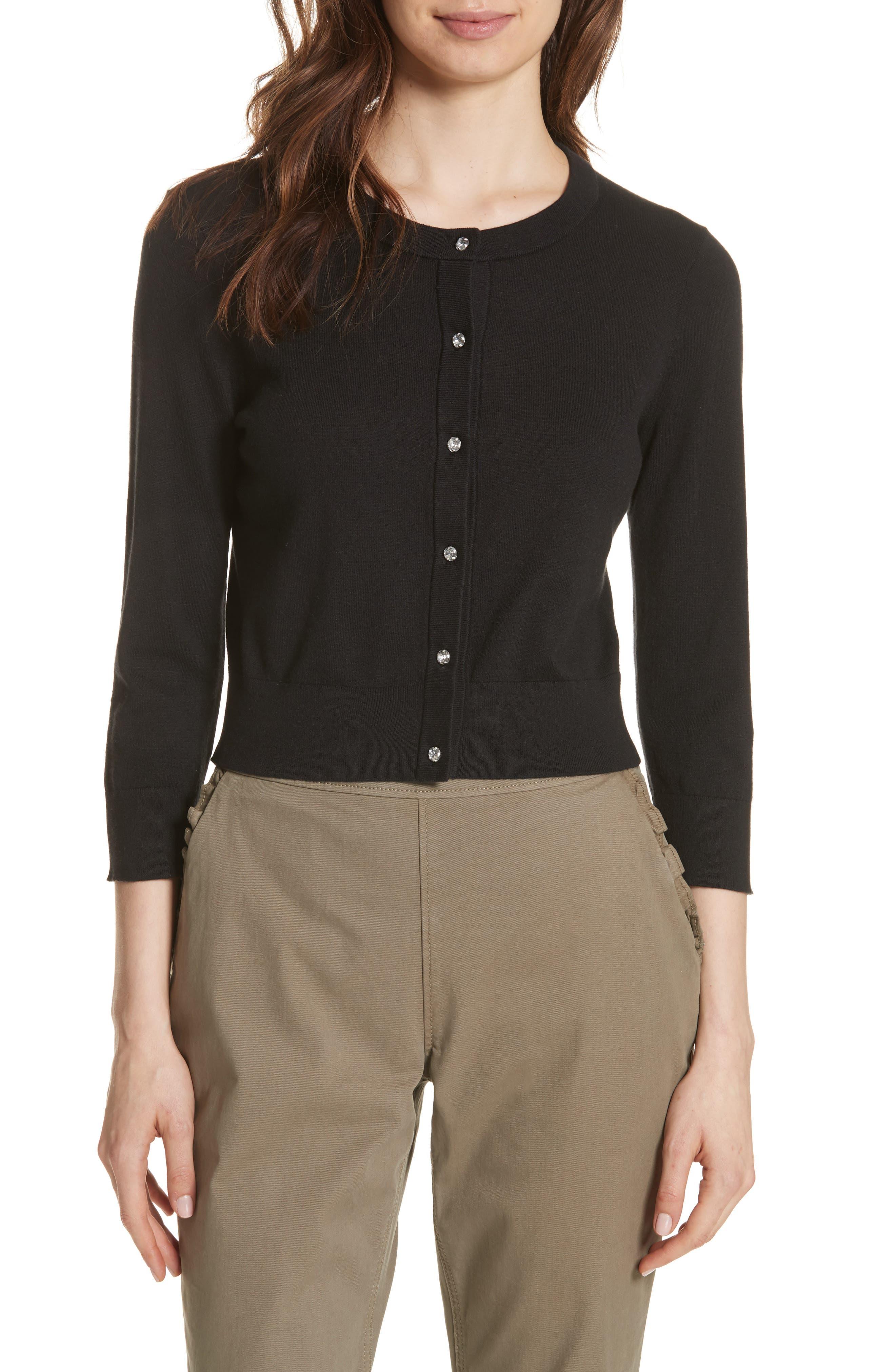 jewel button crop cardigan,                         Main,                         color, BLACK