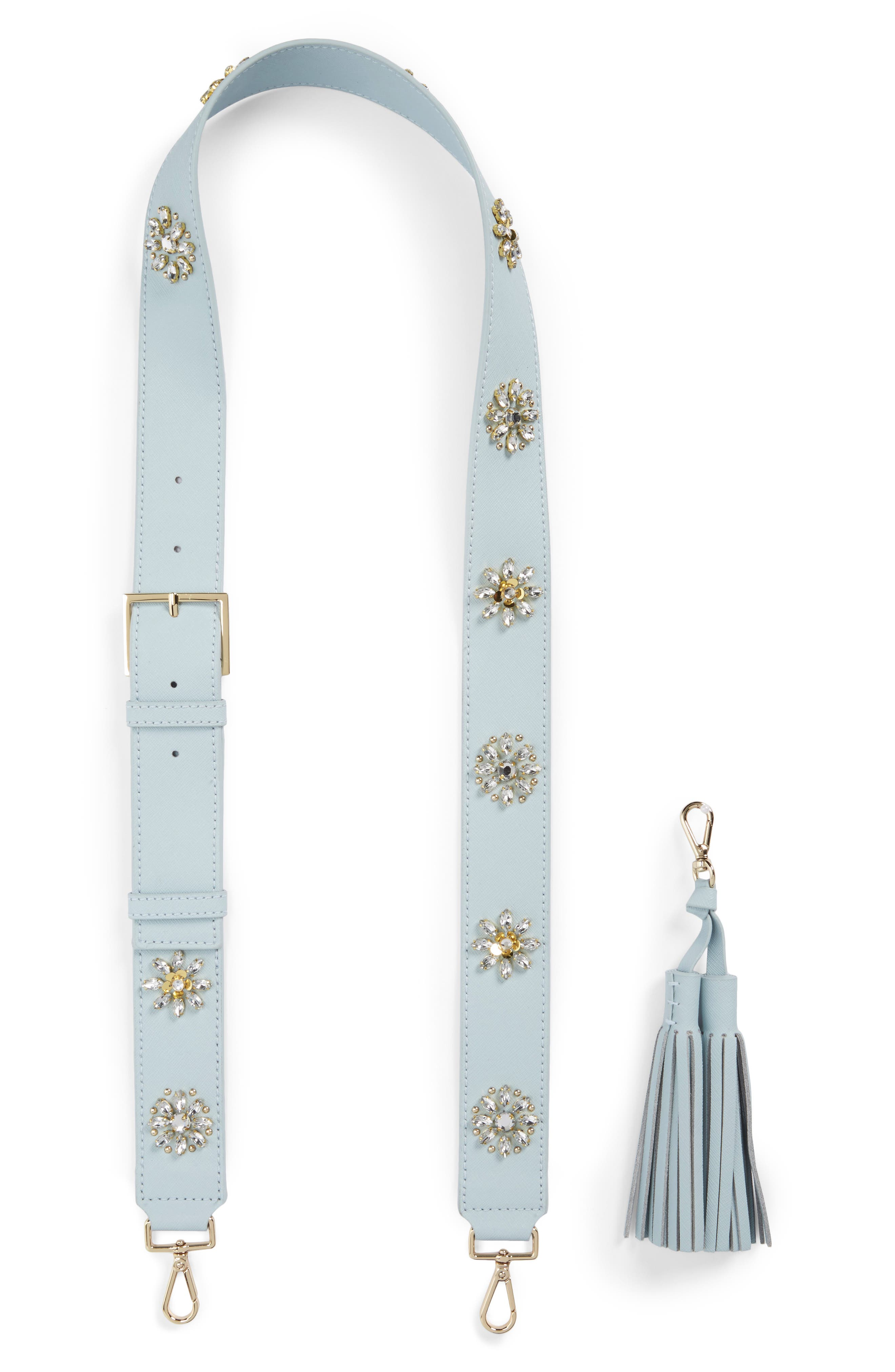 make it mine crystal flowers leather guitar bag strap & tassel,                         Main,                         color, 494