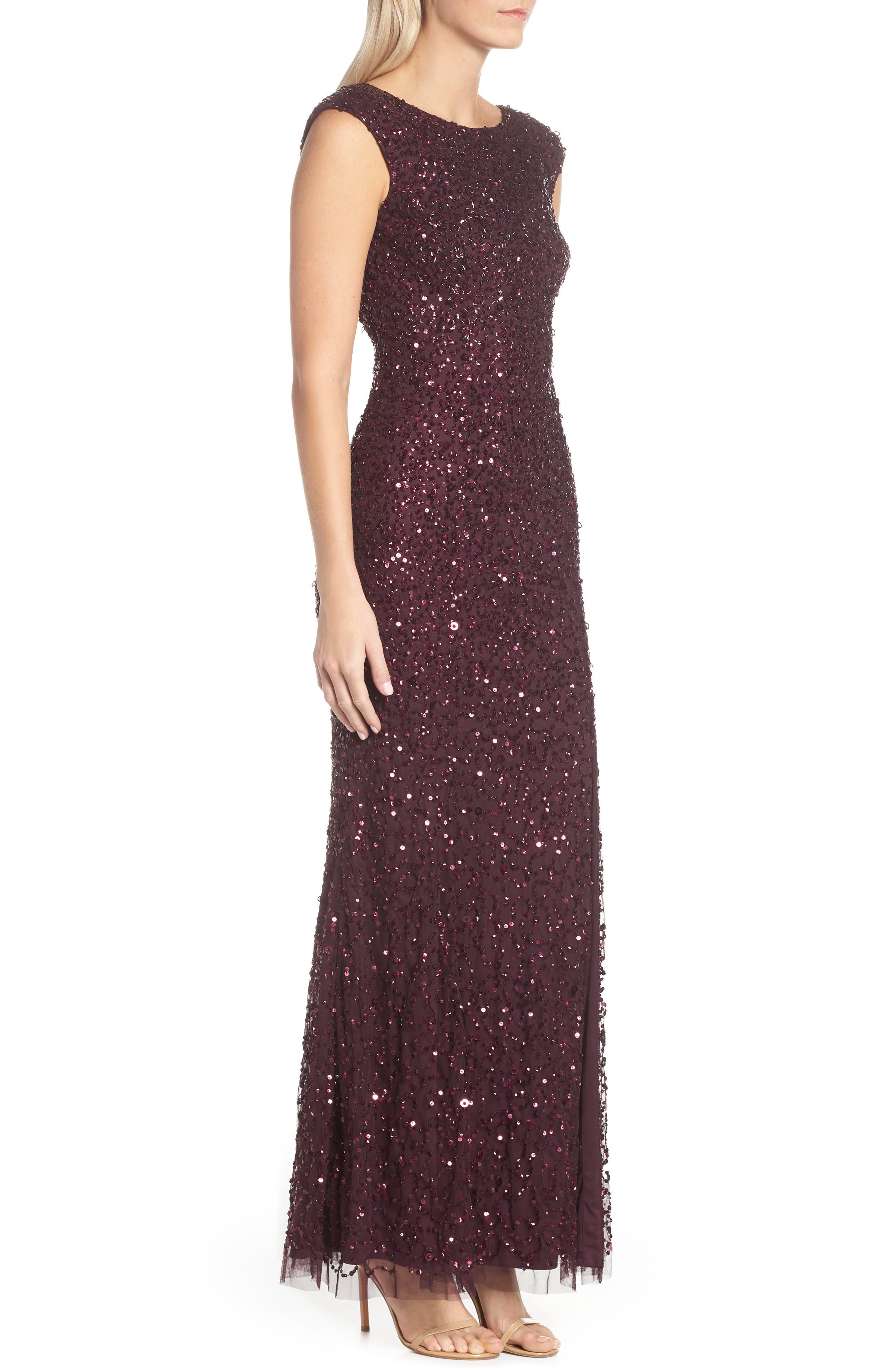 Sequin Evening Dress,                             Alternate thumbnail 3, color,                             NIGHT PLUM