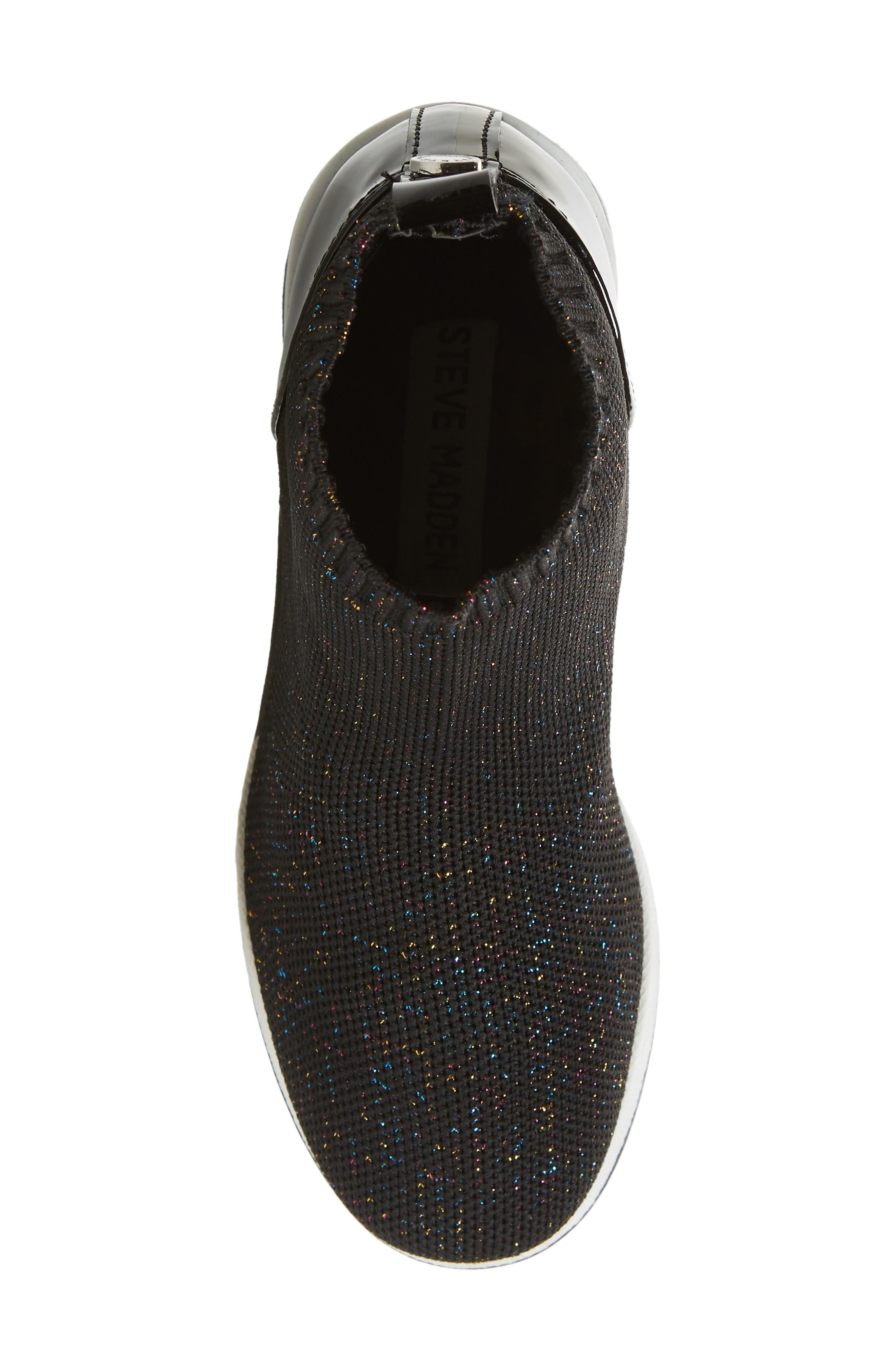 STEVE MADDEN,                             Dusky Metallic High Top Wedge Sock Sneaker,                             Alternate thumbnail 5, color,                             BLACK MULTI