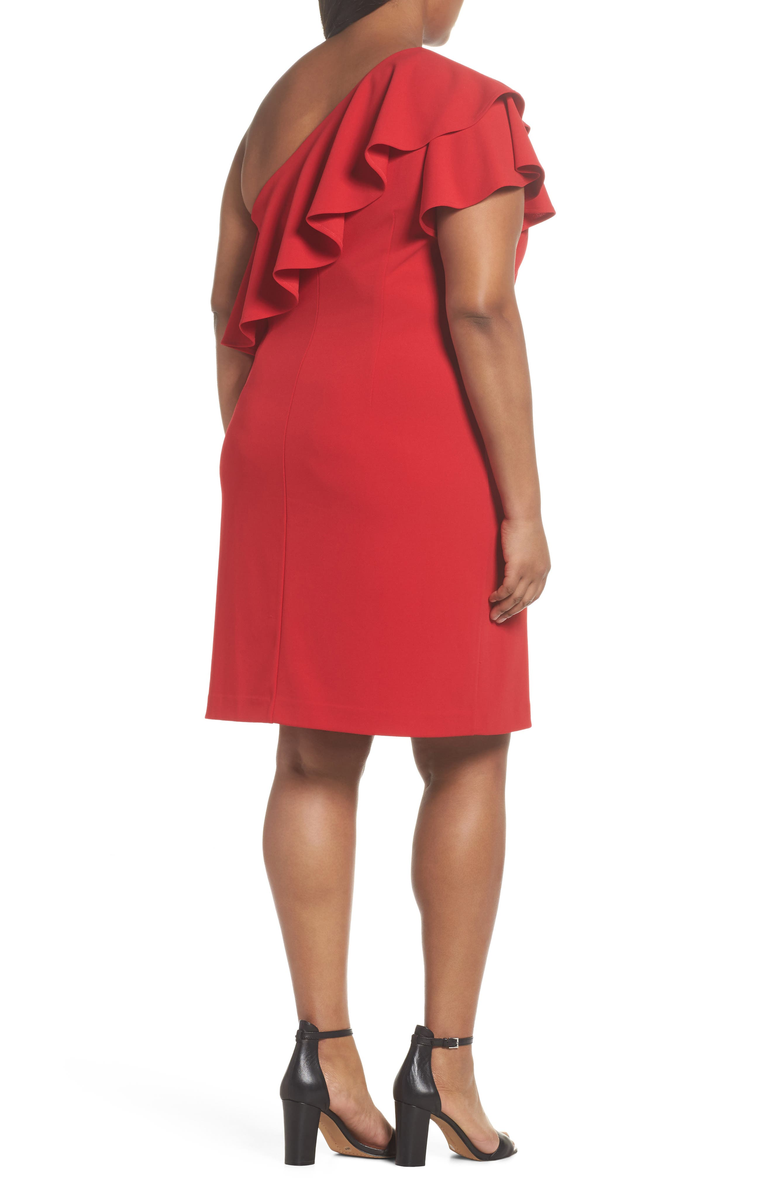 Ruffle One-Shoulder Scuba Body-Con Dress,                             Alternate thumbnail 2, color,                             610