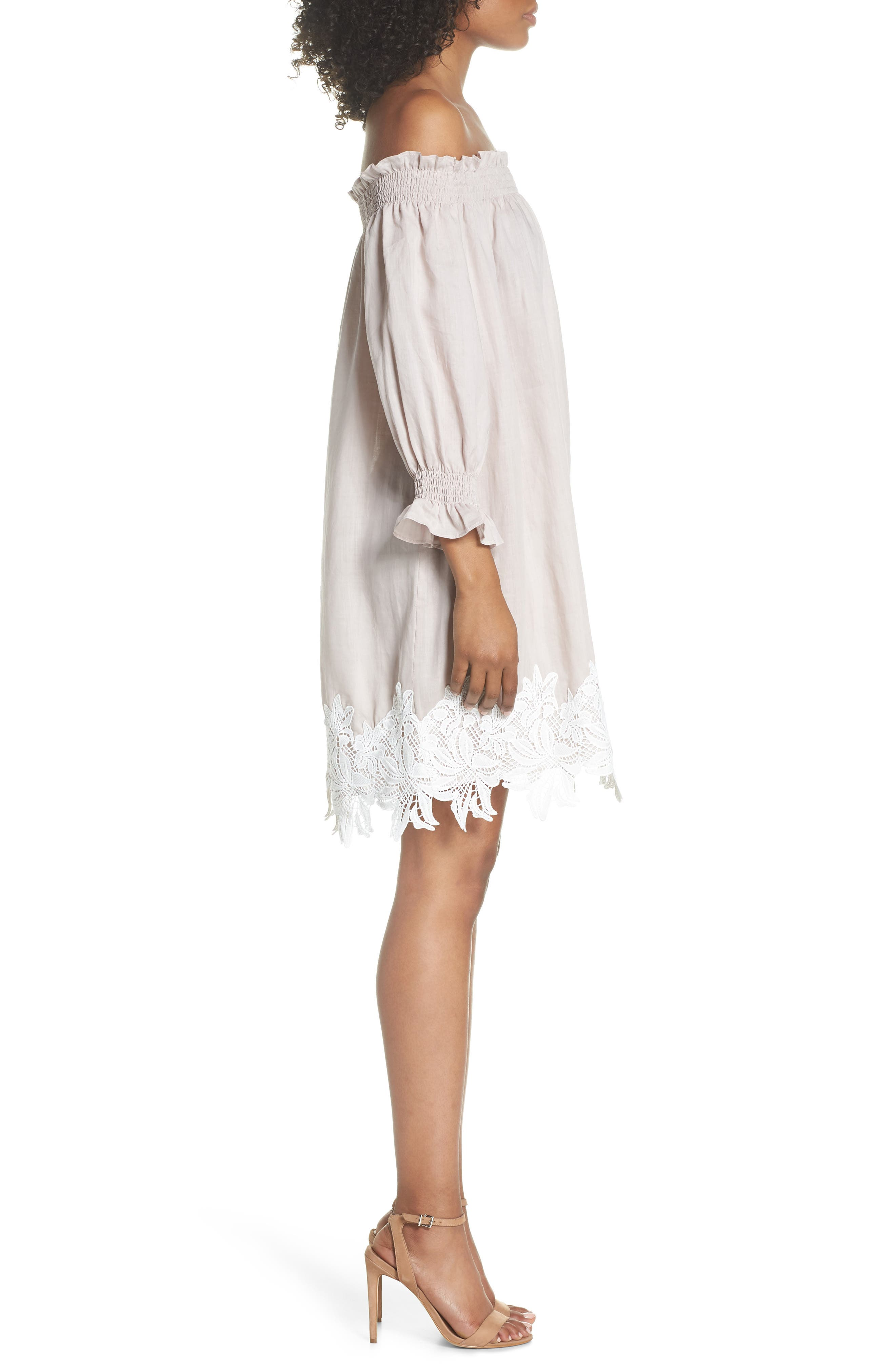 Hudson Off the Shoulder Lace Hem Linen Dress,                             Alternate thumbnail 3, color,                             650