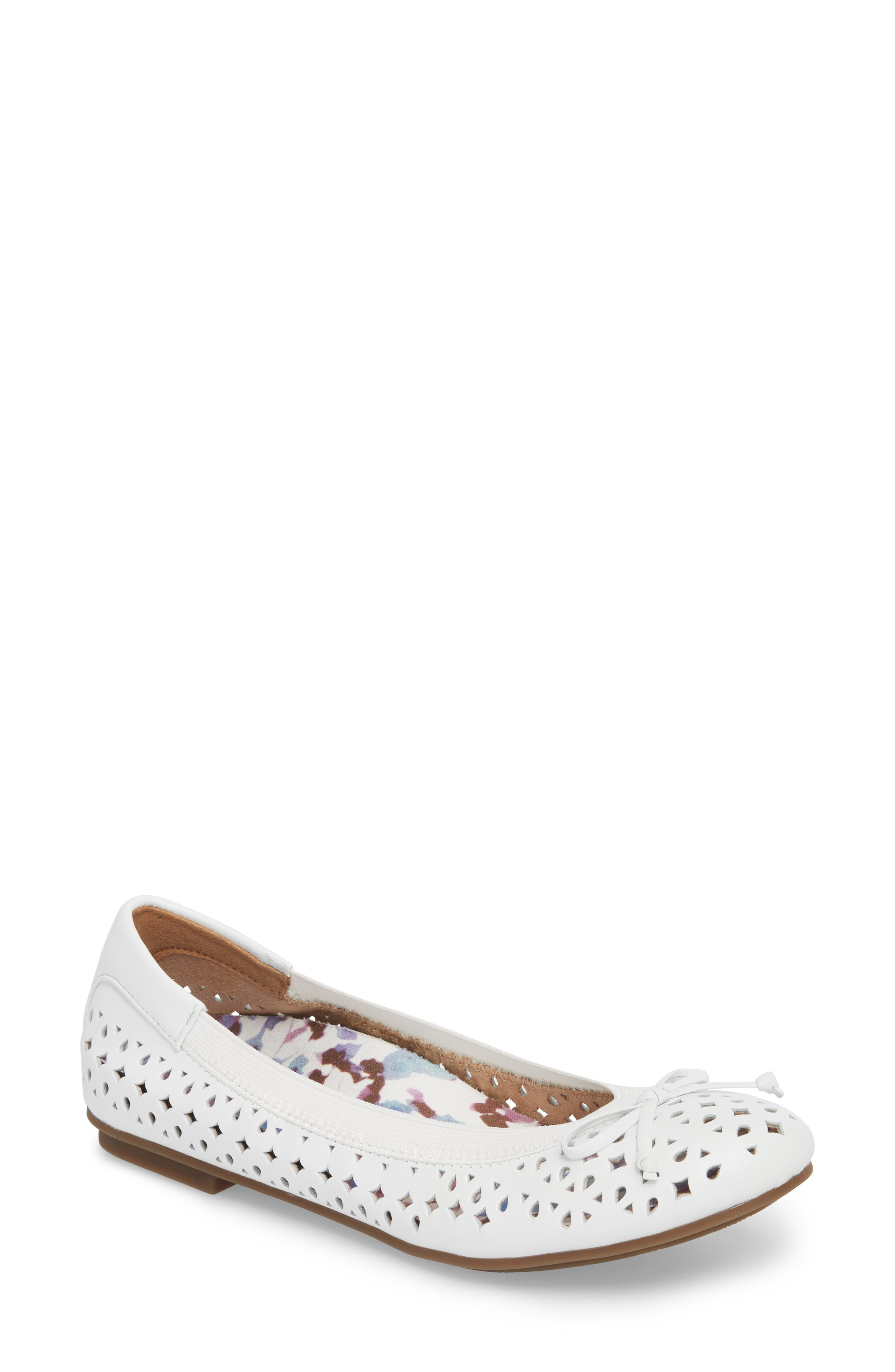 'Surin' Perforated Ballet Flat,                             Main thumbnail 1, color,                             100