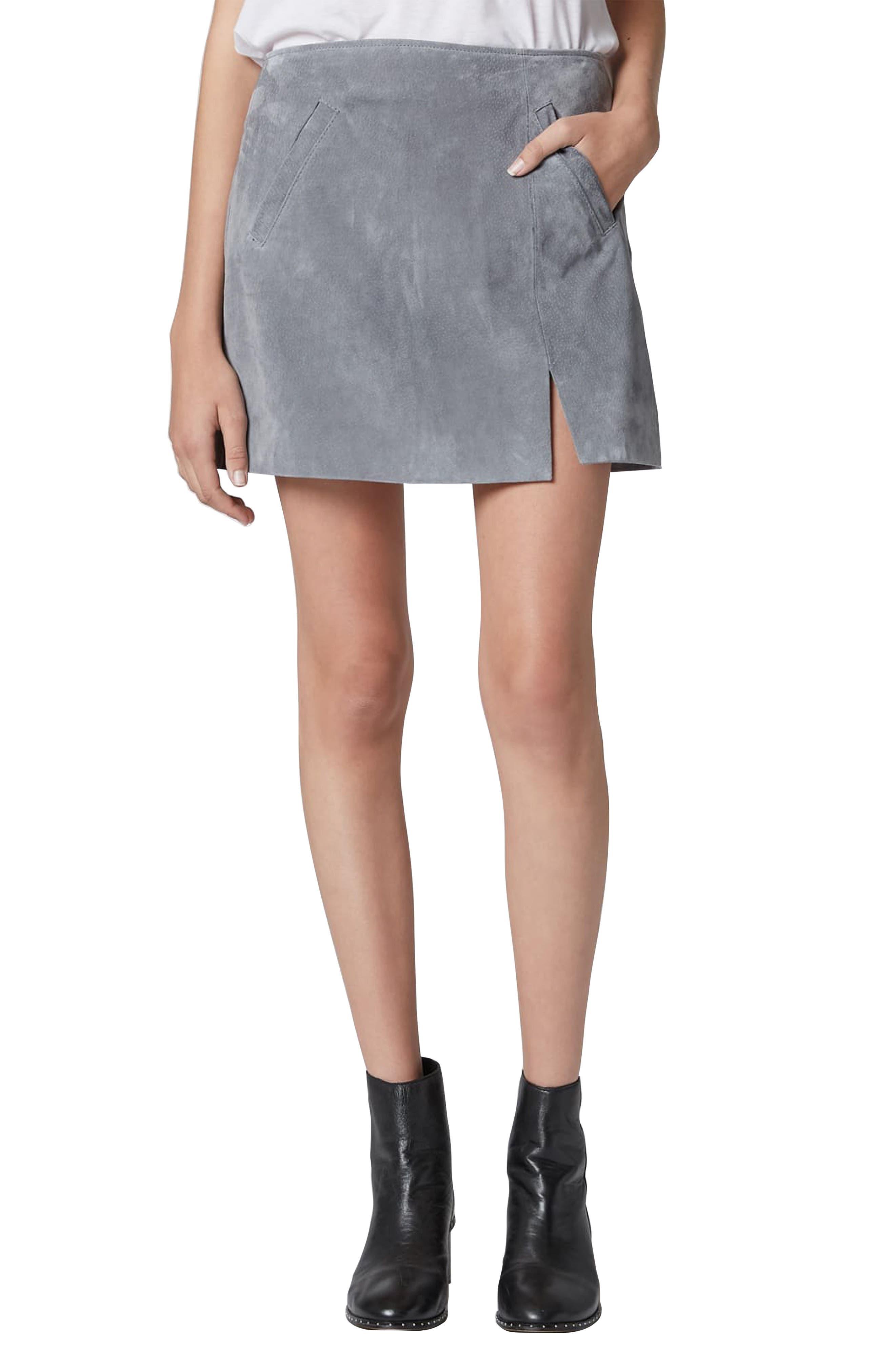 Suede Miniskirt,                             Main thumbnail 1, color,                             LONDON FOG