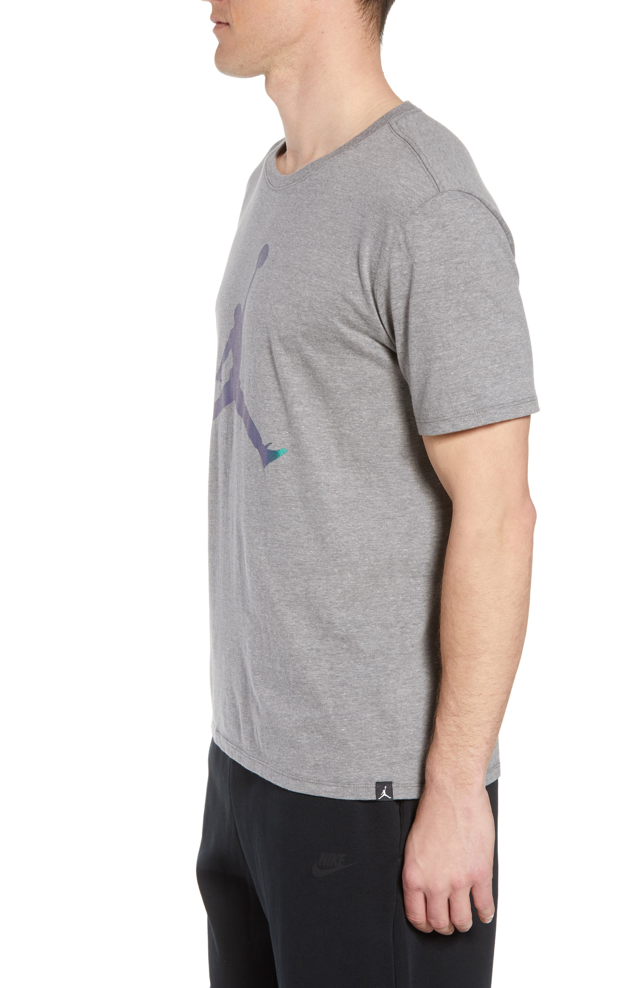 Nike Jumpman Tee,                             Alternate thumbnail 3, color,                             CARBON HEATHER