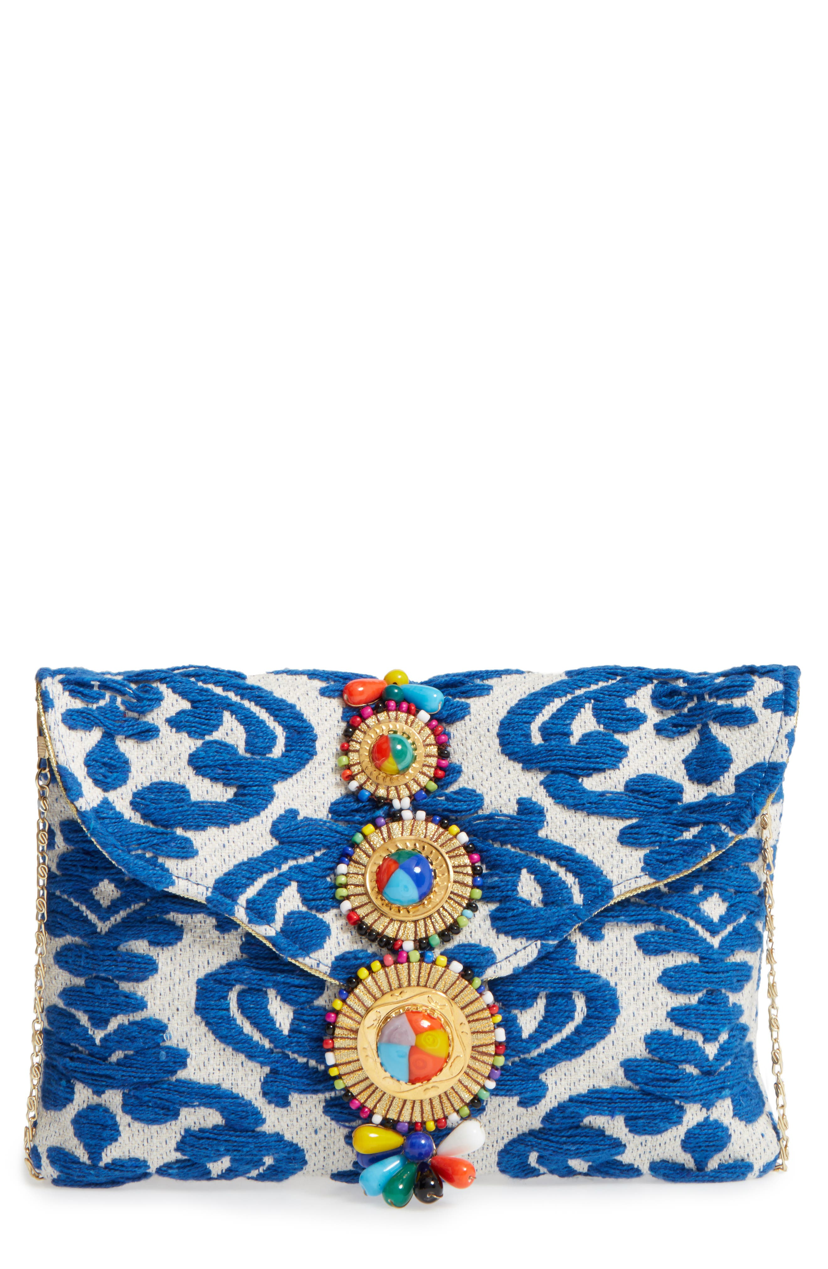 Beaded & Embroidered Clutch,                         Main,                         color, 400