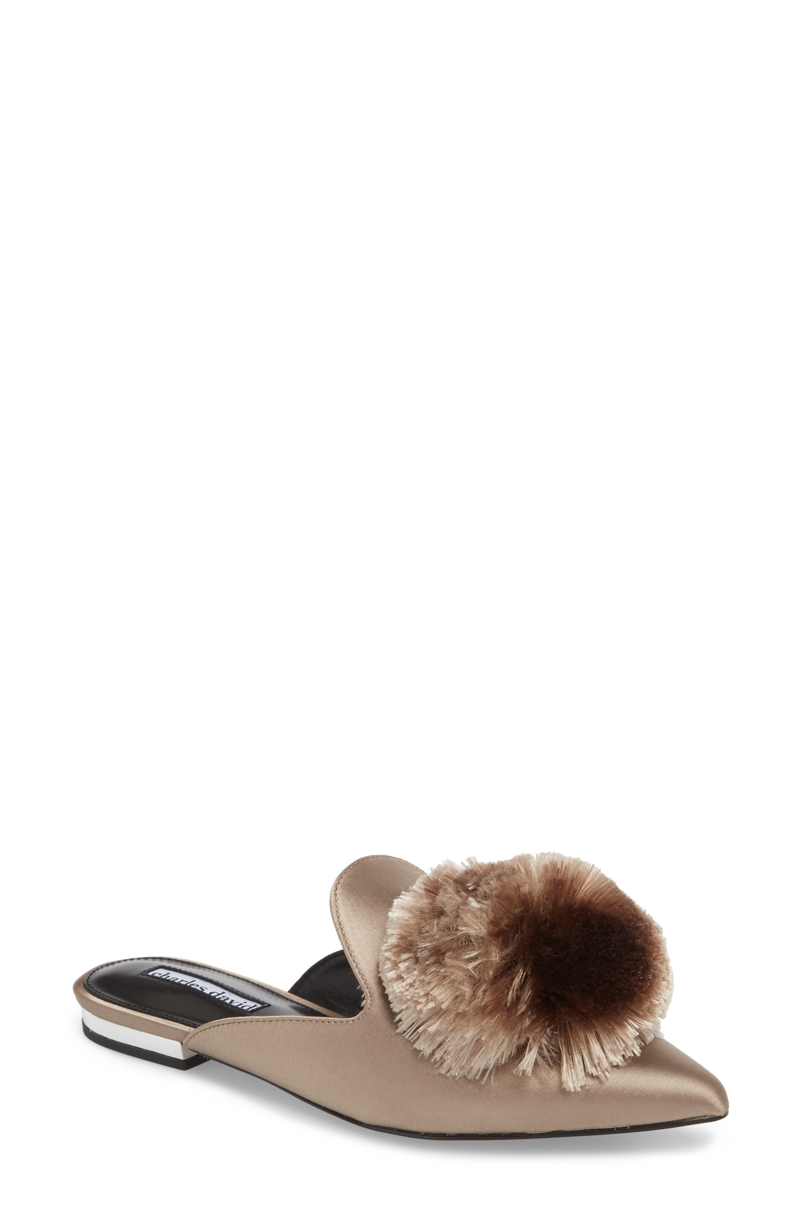 Wella Pompom Loafer Mule,                         Main,                         color, TAUPE SATIN