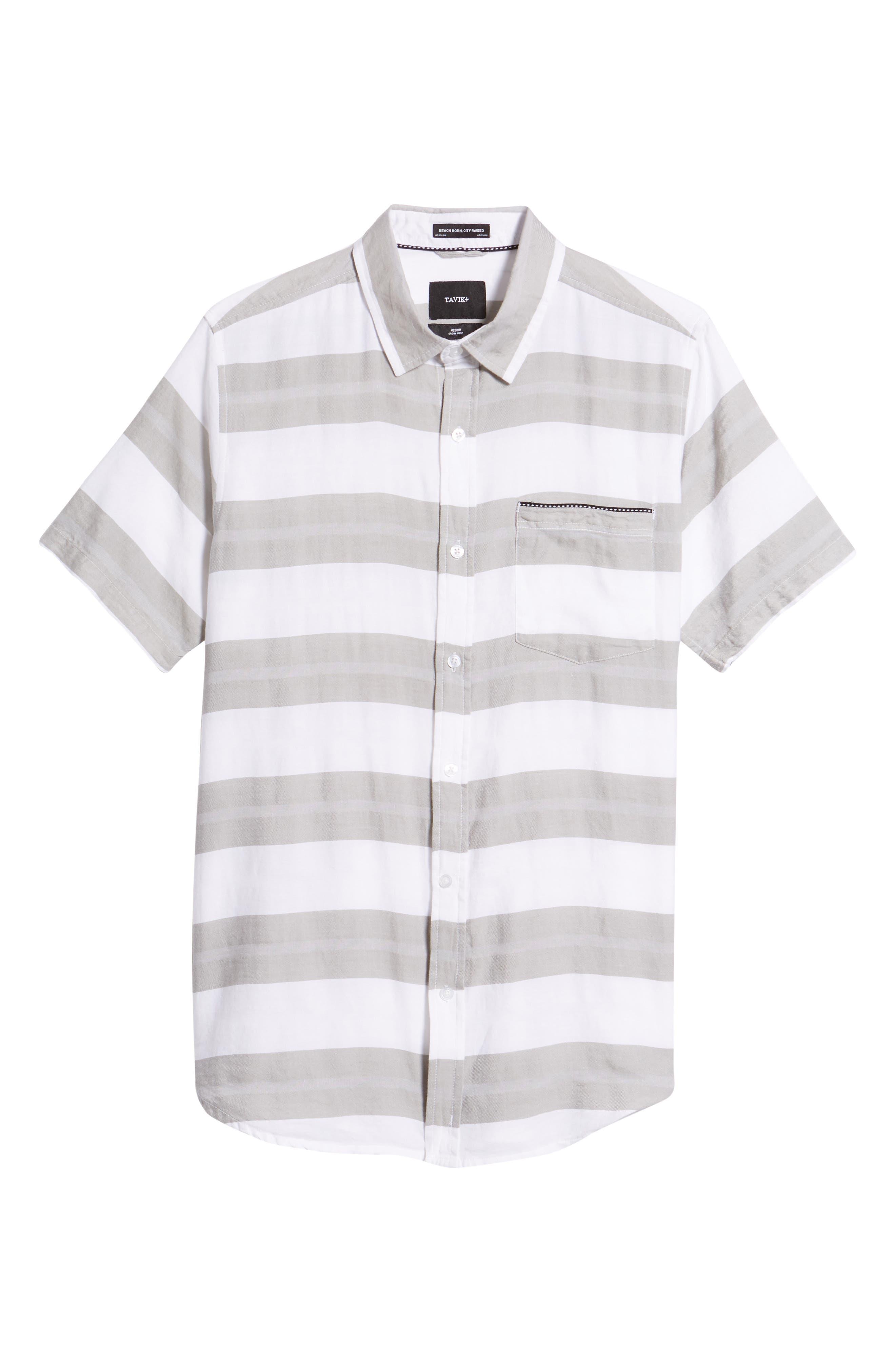 Dobson Woven Shirt,                             Alternate thumbnail 6, color,                             WHITE/SMOKE STRIPE