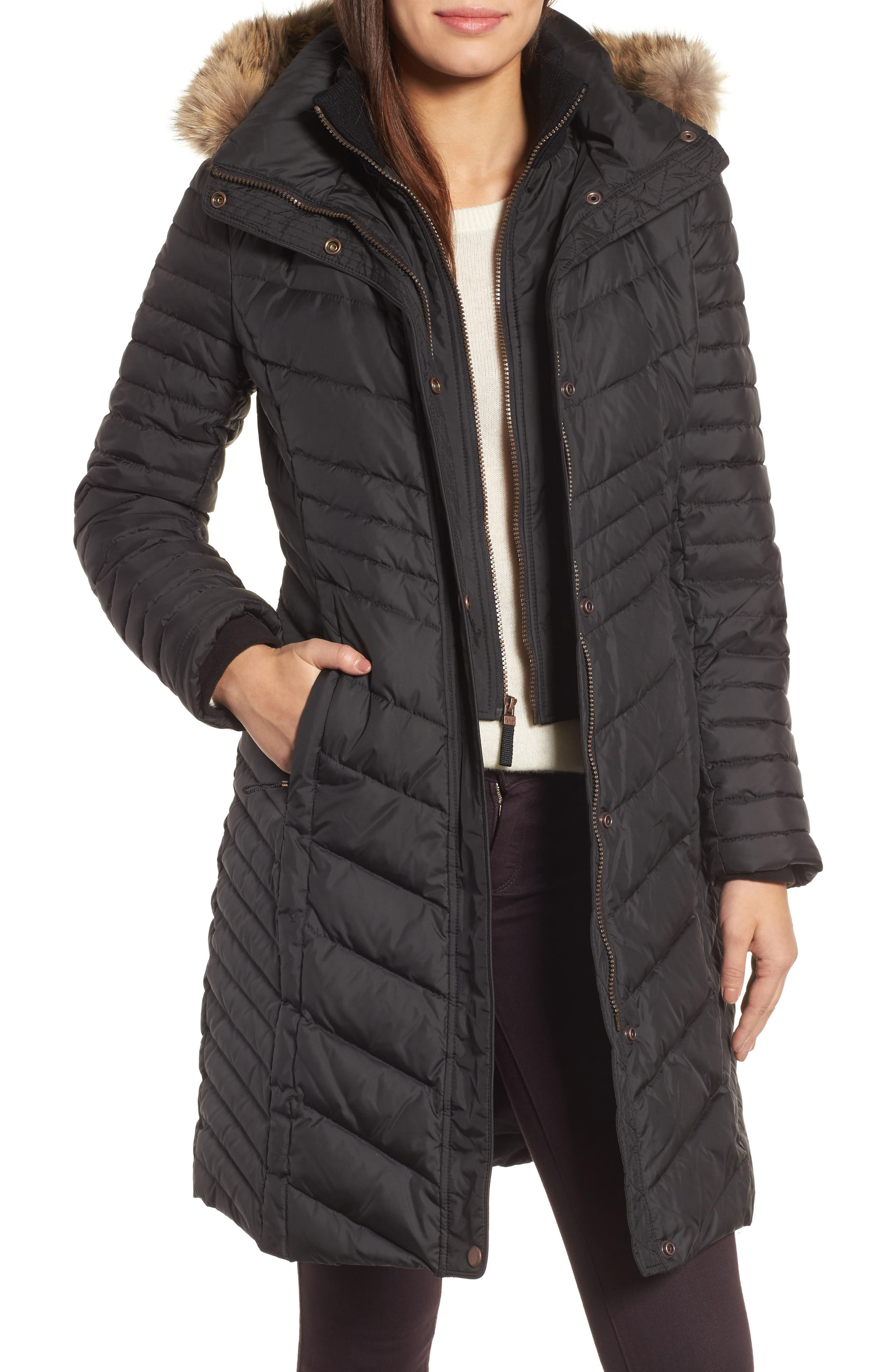 Chevron Quilted Coat with Genuine Coyote Fur Trim,                         Main,                         color,