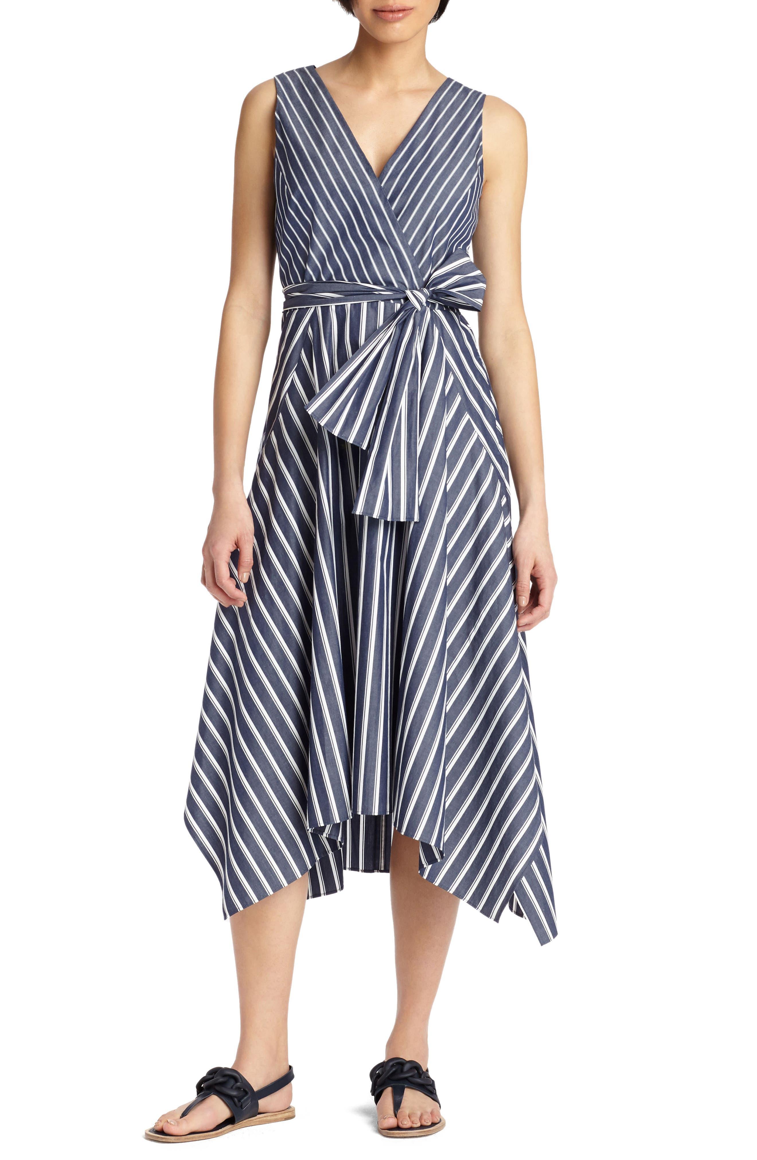 Lafayette 148 New York Demetria Stripe Poplin Dress, Blue