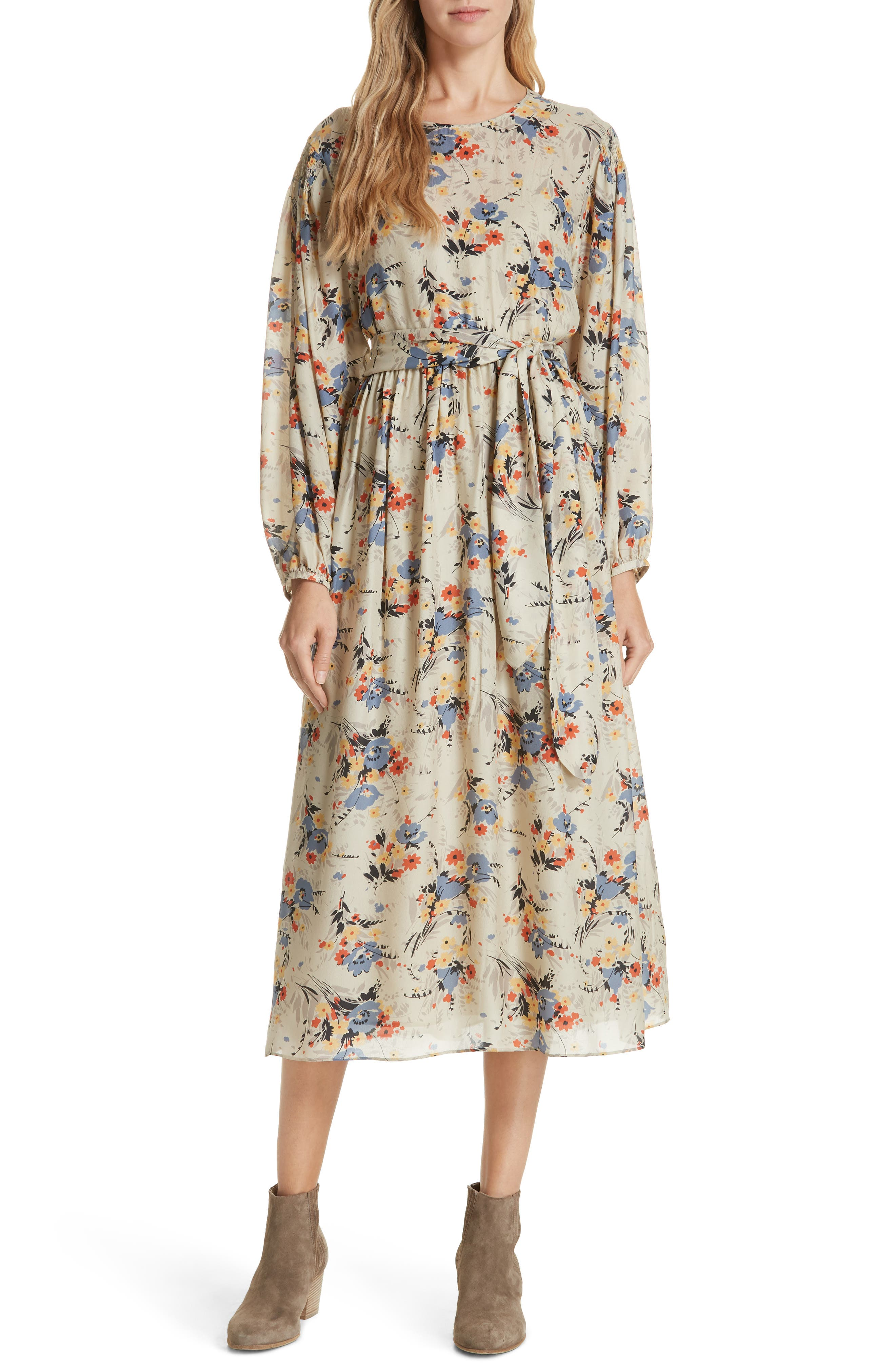Creekside Silk Dress,                             Main thumbnail 1, color,                             WOODLAND FLORAL