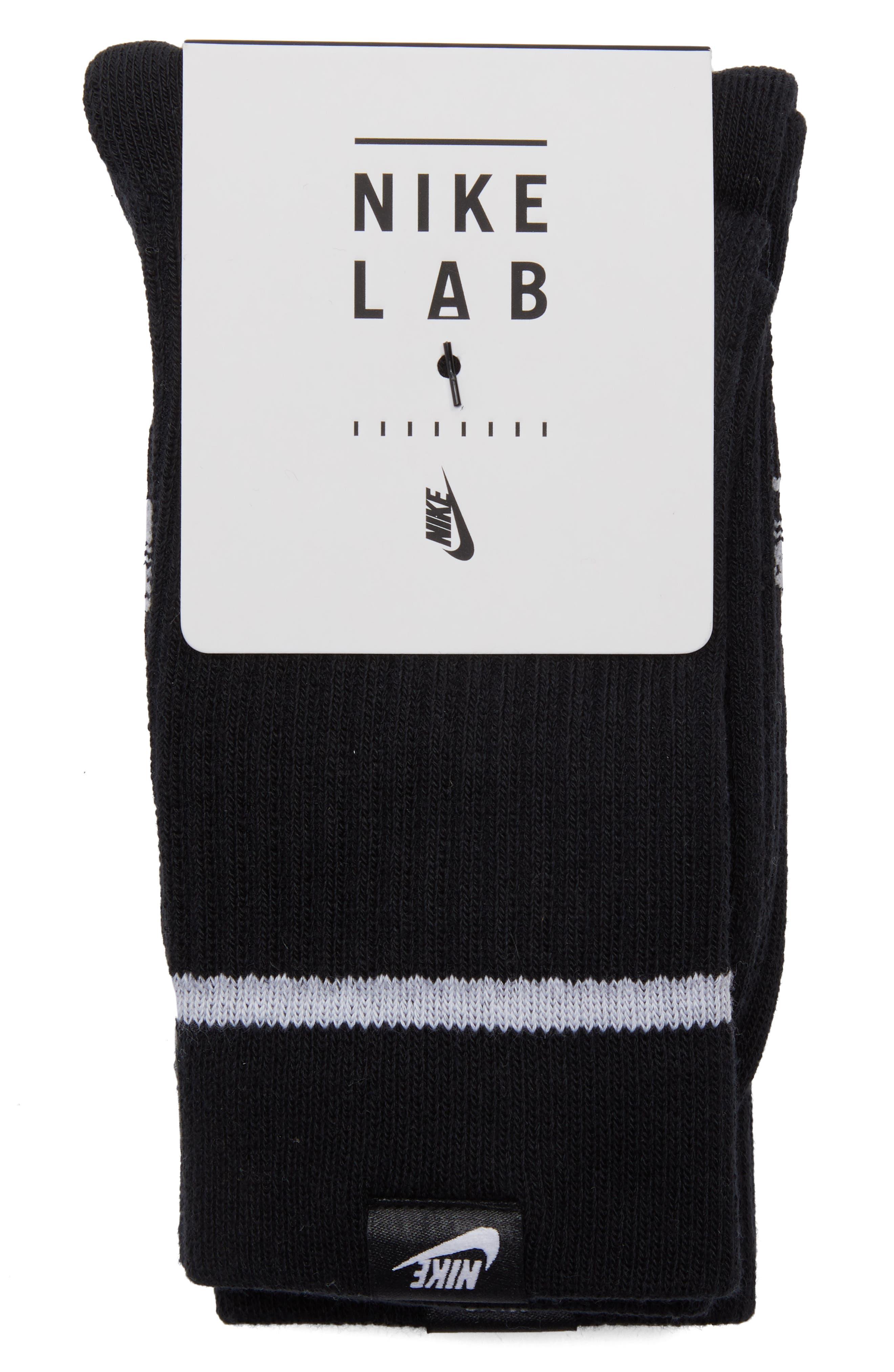 NikeLab 2-Pack Essential Crew Socks,                             Alternate thumbnail 3, color,                             BLACK/ WHITE