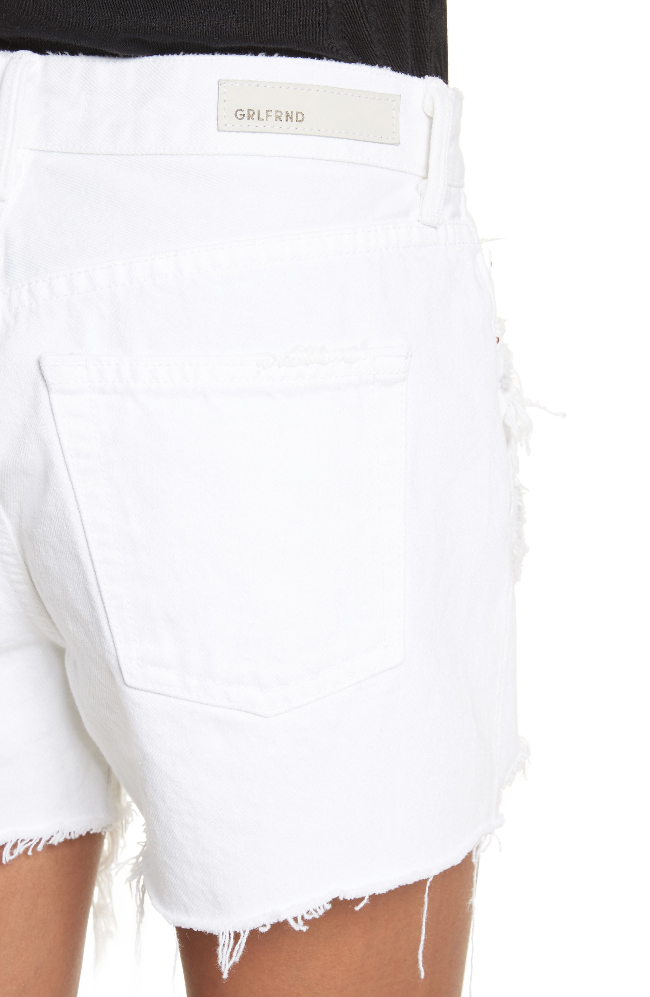 Helena High Waist Denim Shorts,                             Alternate thumbnail 4, color,                             100