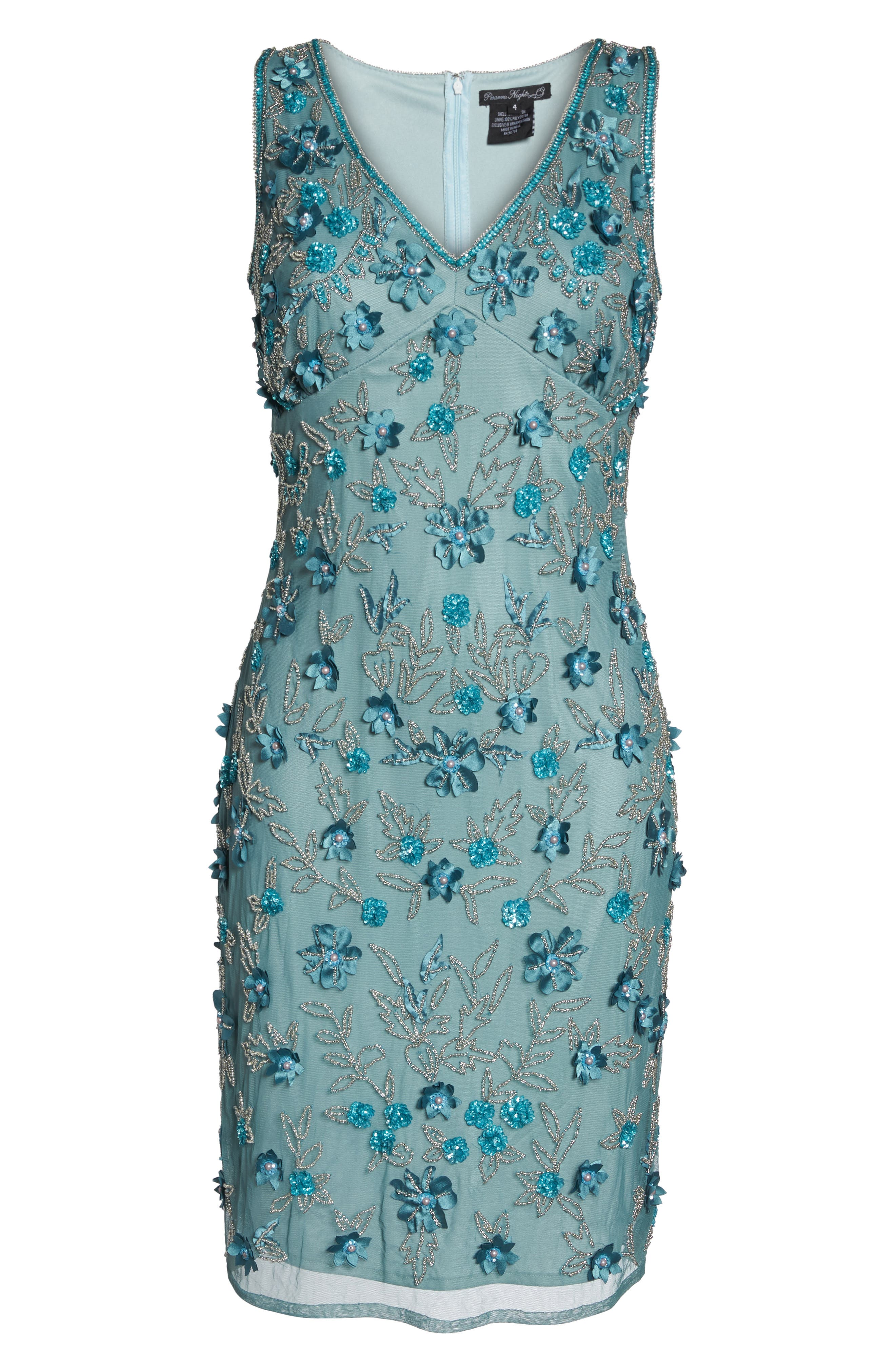 3D Floral Embellished Sheath Dress,                             Alternate thumbnail 7, color,                             400