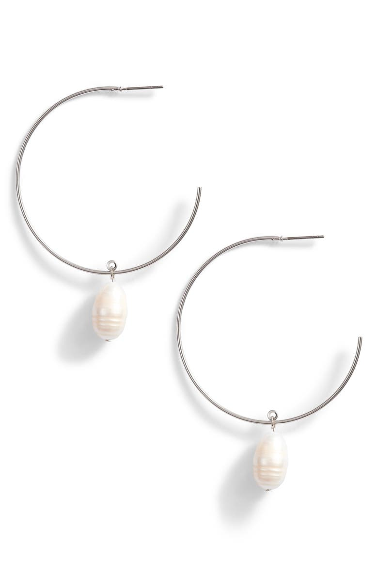 Something Navy Pearl Drop Hoop Earrings (Nordstrom Exclusive) | Nordstrom