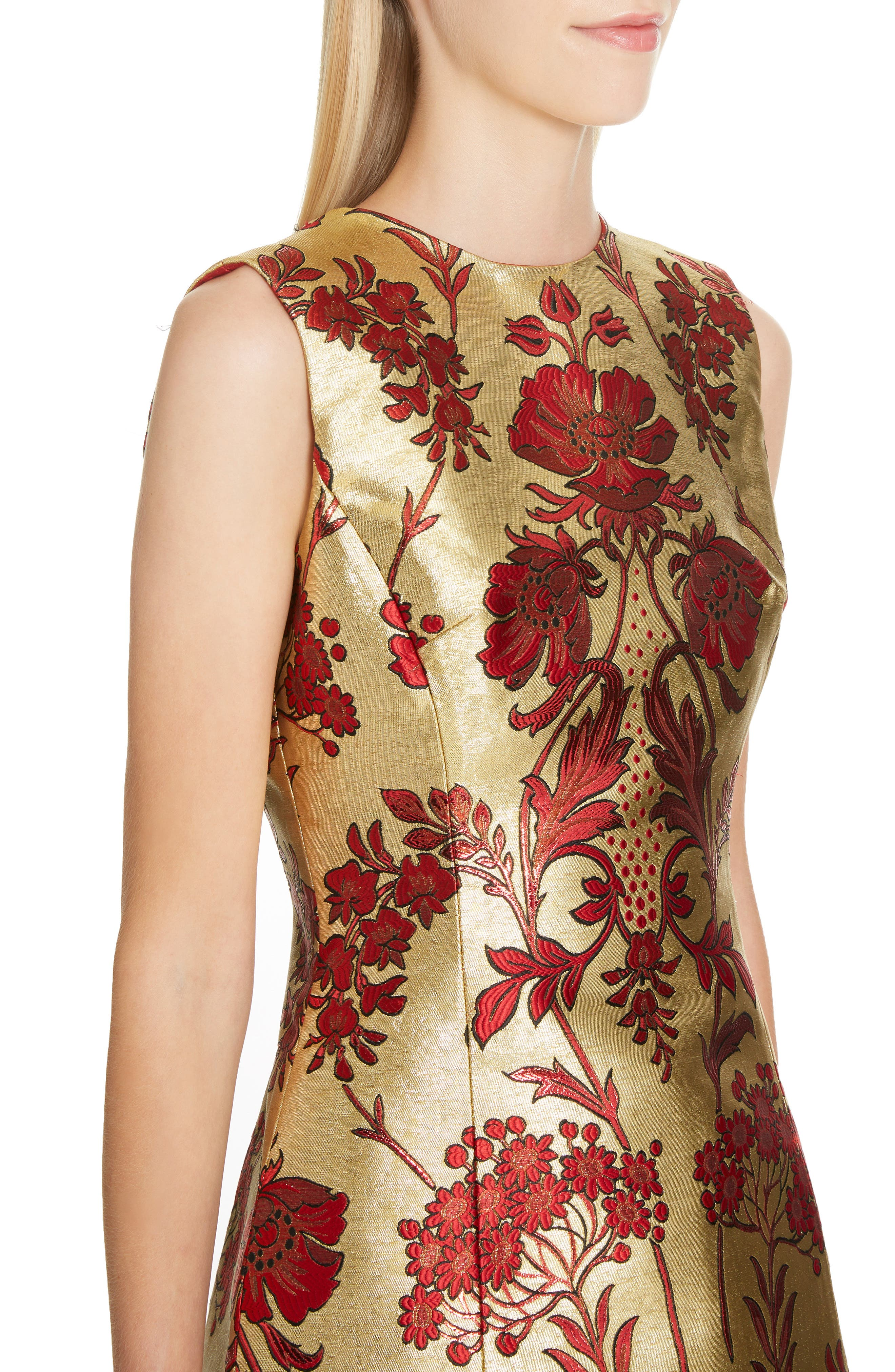Metallic Jacquard A-Line Dress,                             Alternate thumbnail 4, color,                             S8351 JACQUARD LUREX FLORAL