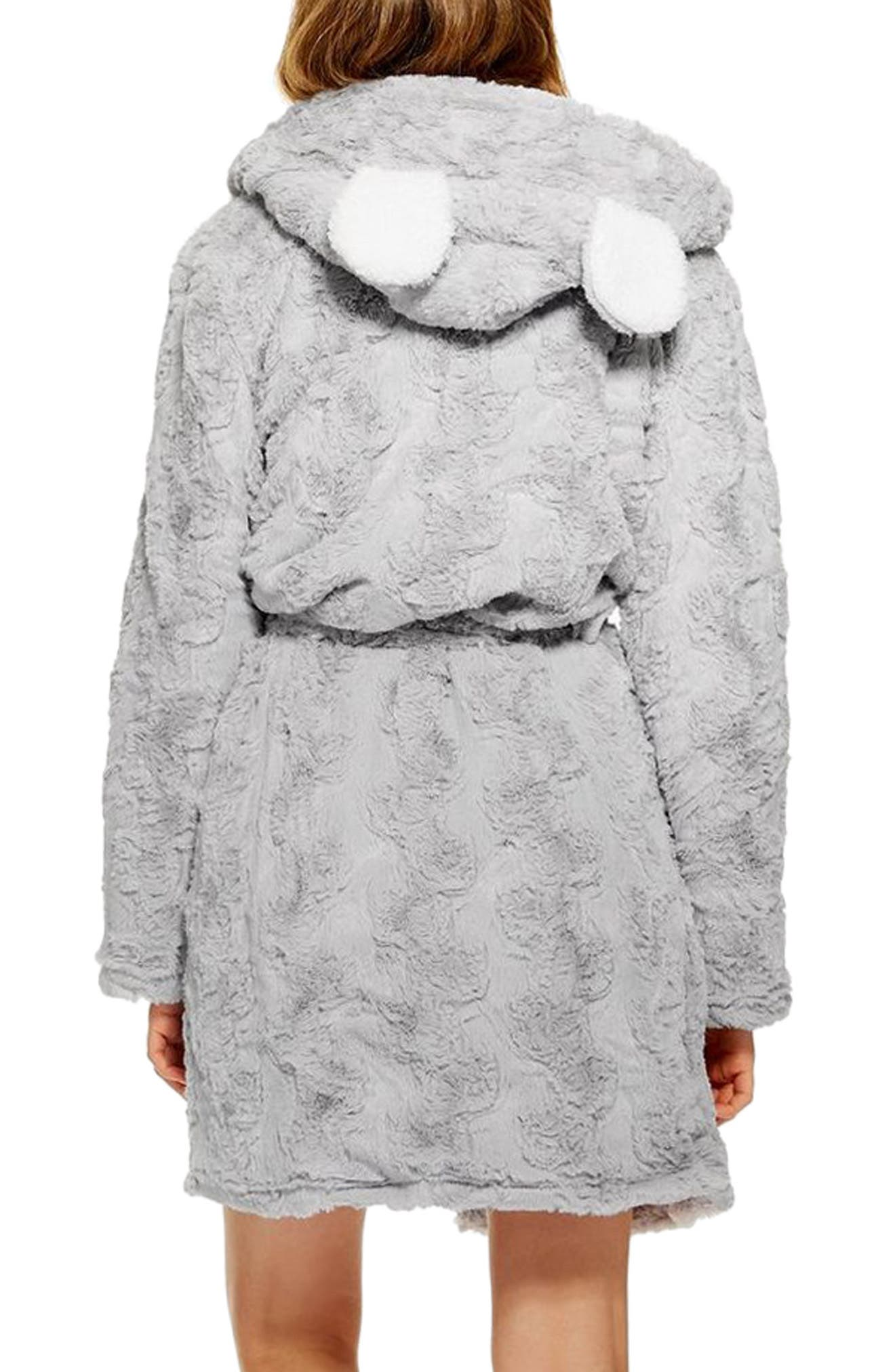 TOPSHOP,                             Squiggle Faux Fur Fluffy Robe,                             Alternate thumbnail 2, color,                             020