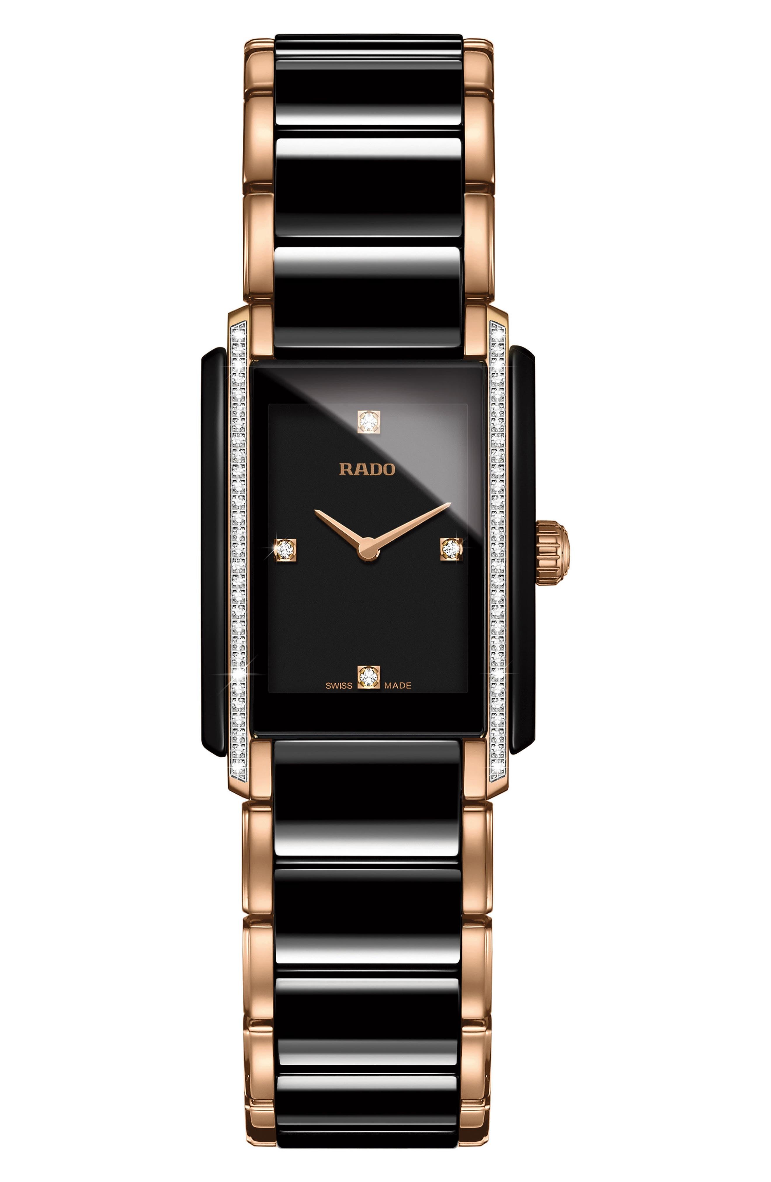 Integral Diamond Ceramic Bracelet Watch, 22mm x 33mm,                         Main,                         color, ROSE GOLD/ BLACK