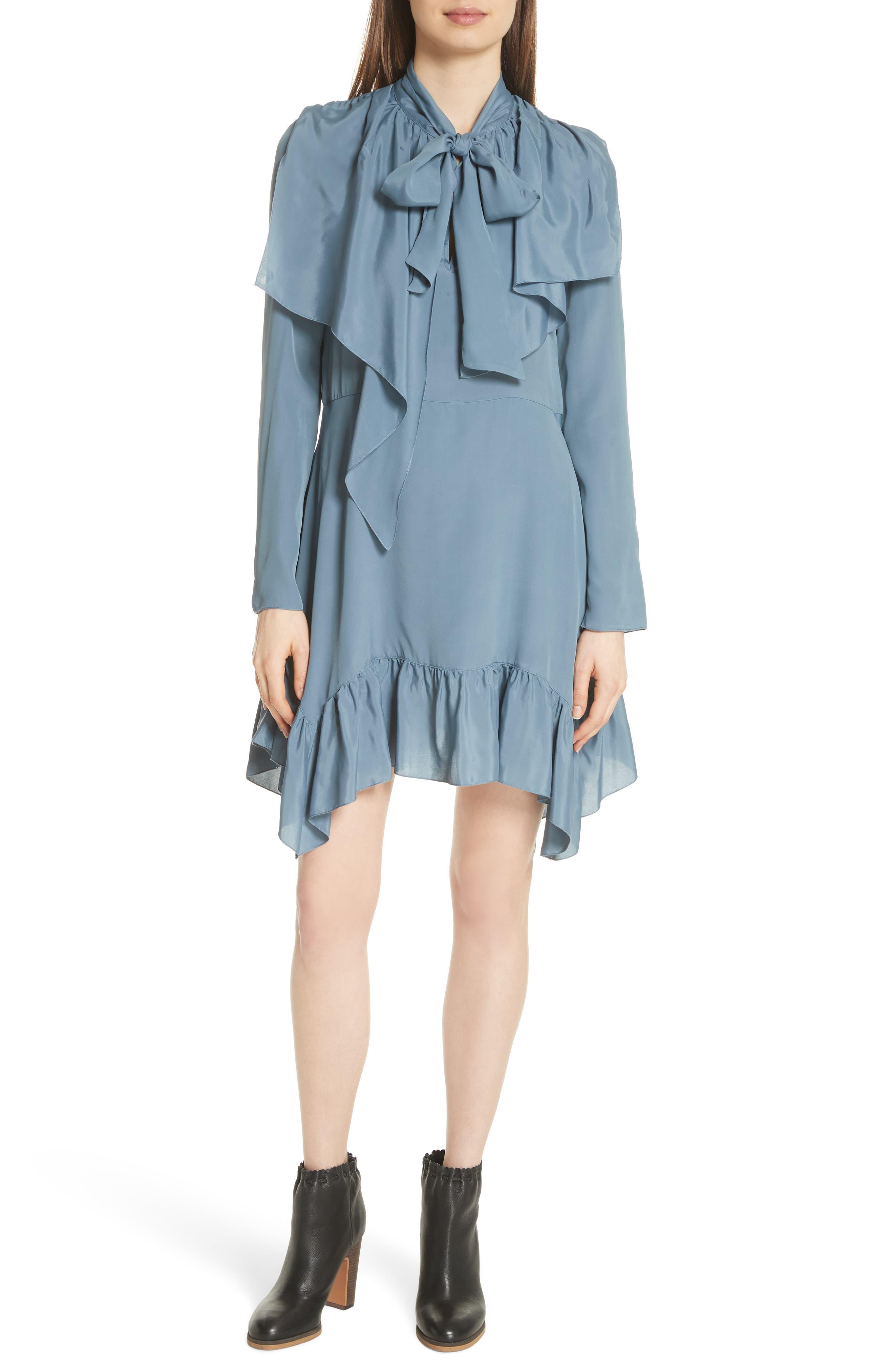 Tie Neck Ruffle Hem Dress,                         Main,                         color, MIRAGE BLUE