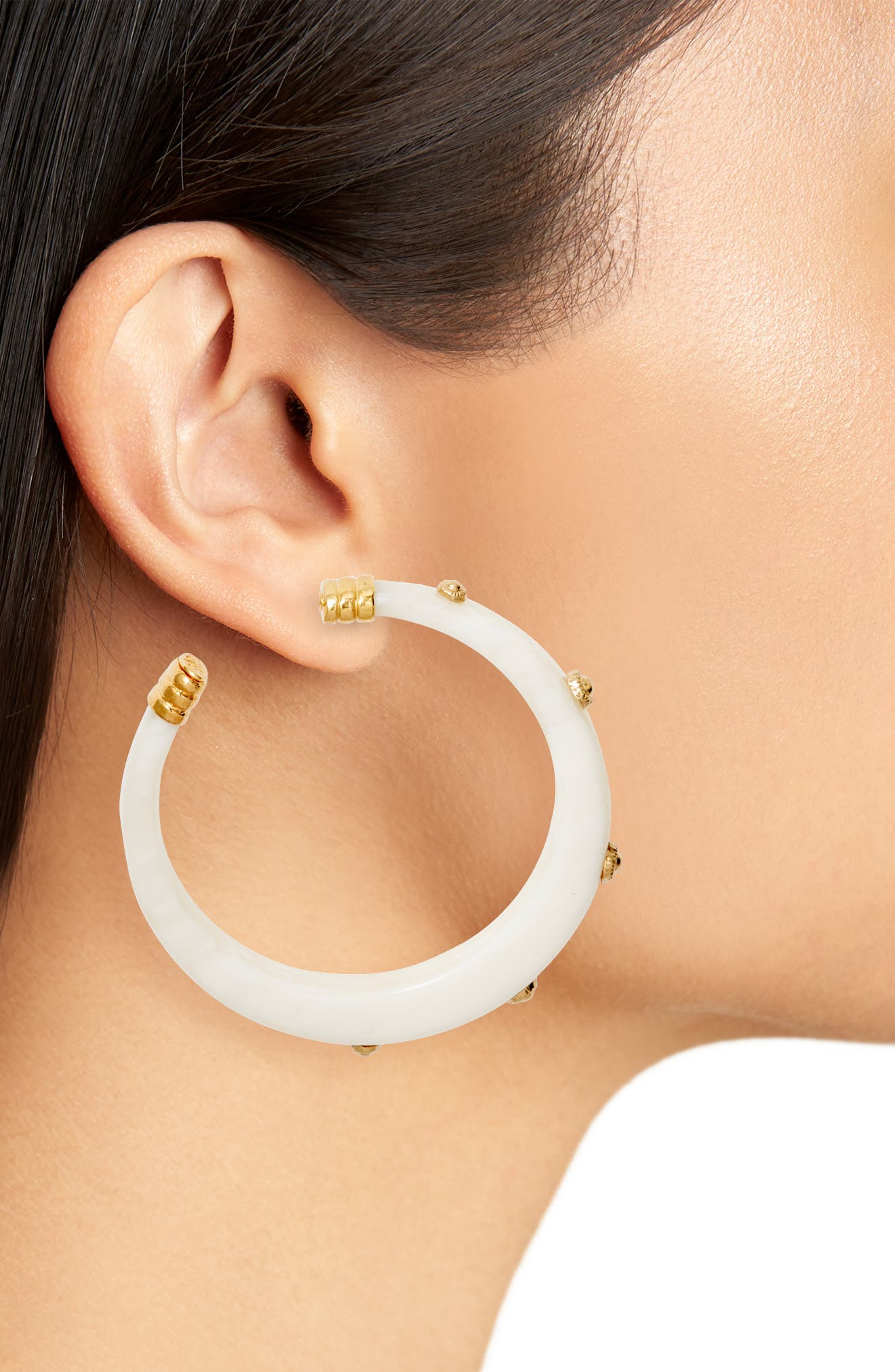 Caftan Bis Hoop Earrings,                             Alternate thumbnail 2, color,                             WHITE