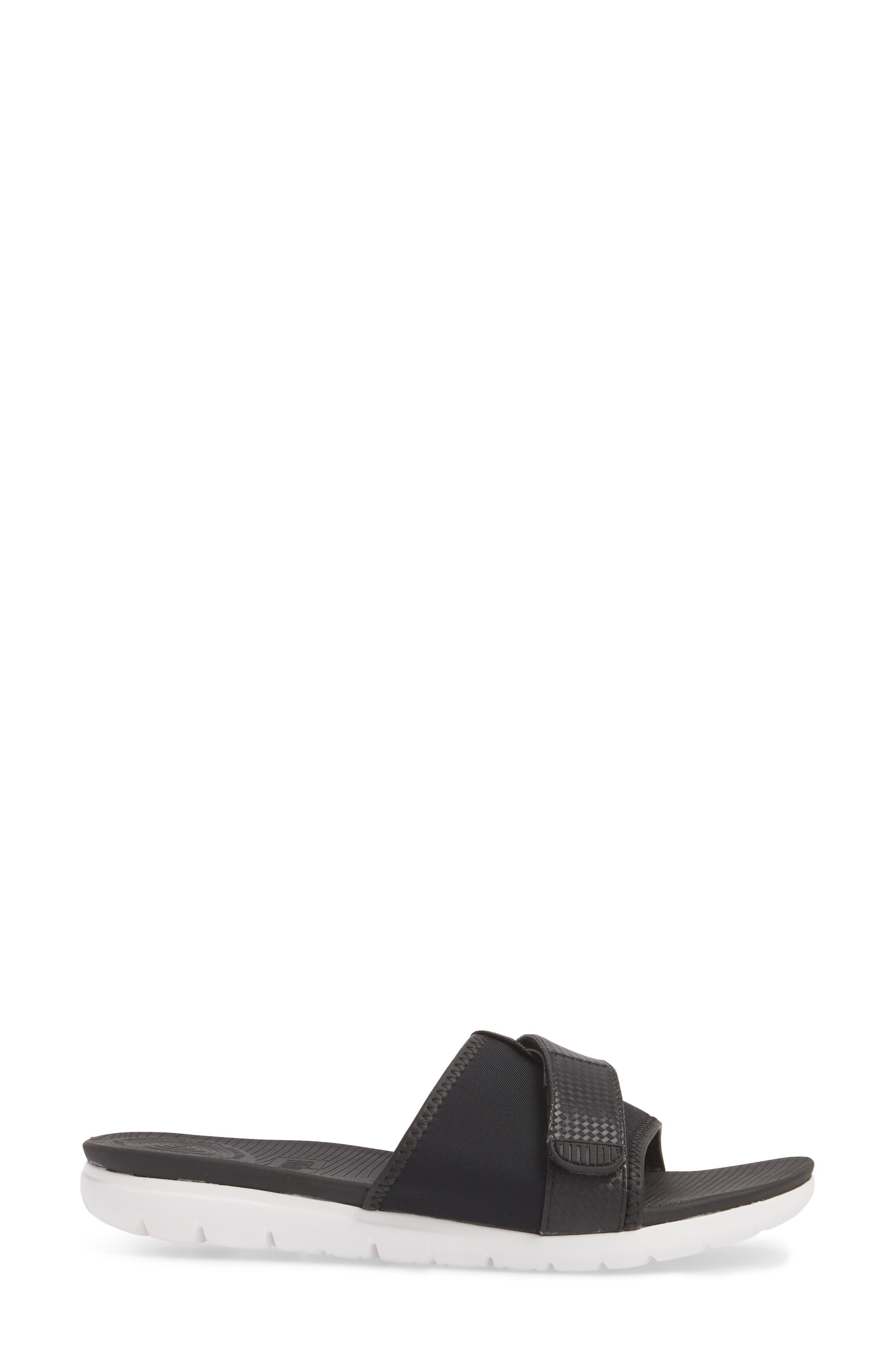 Neoflex Slide Sandal,                             Alternate thumbnail 3, color,                             BLACK FABRIC