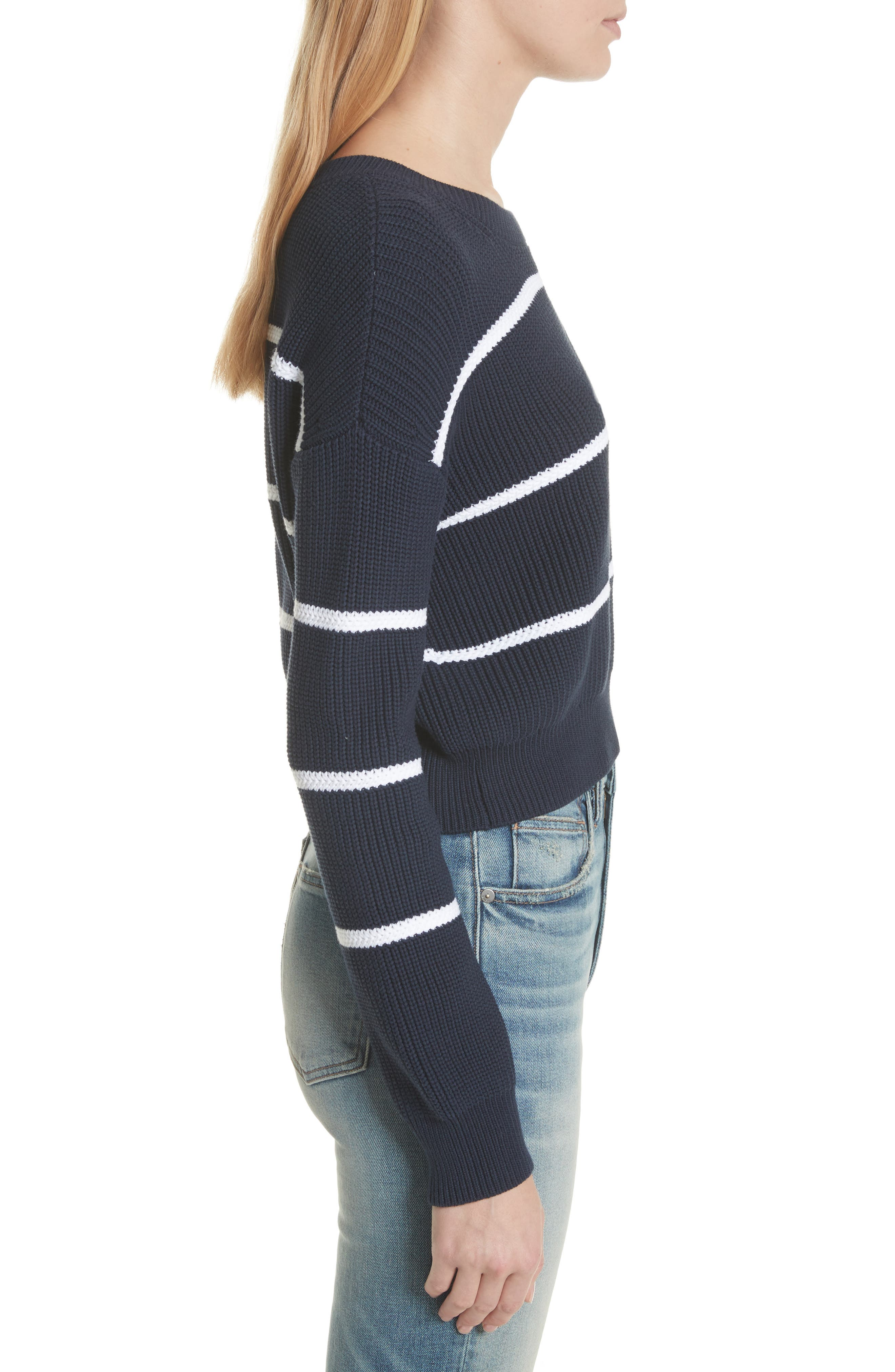 Cotton Blend Rib Knit Stripe Sweater,                             Alternate thumbnail 6, color,