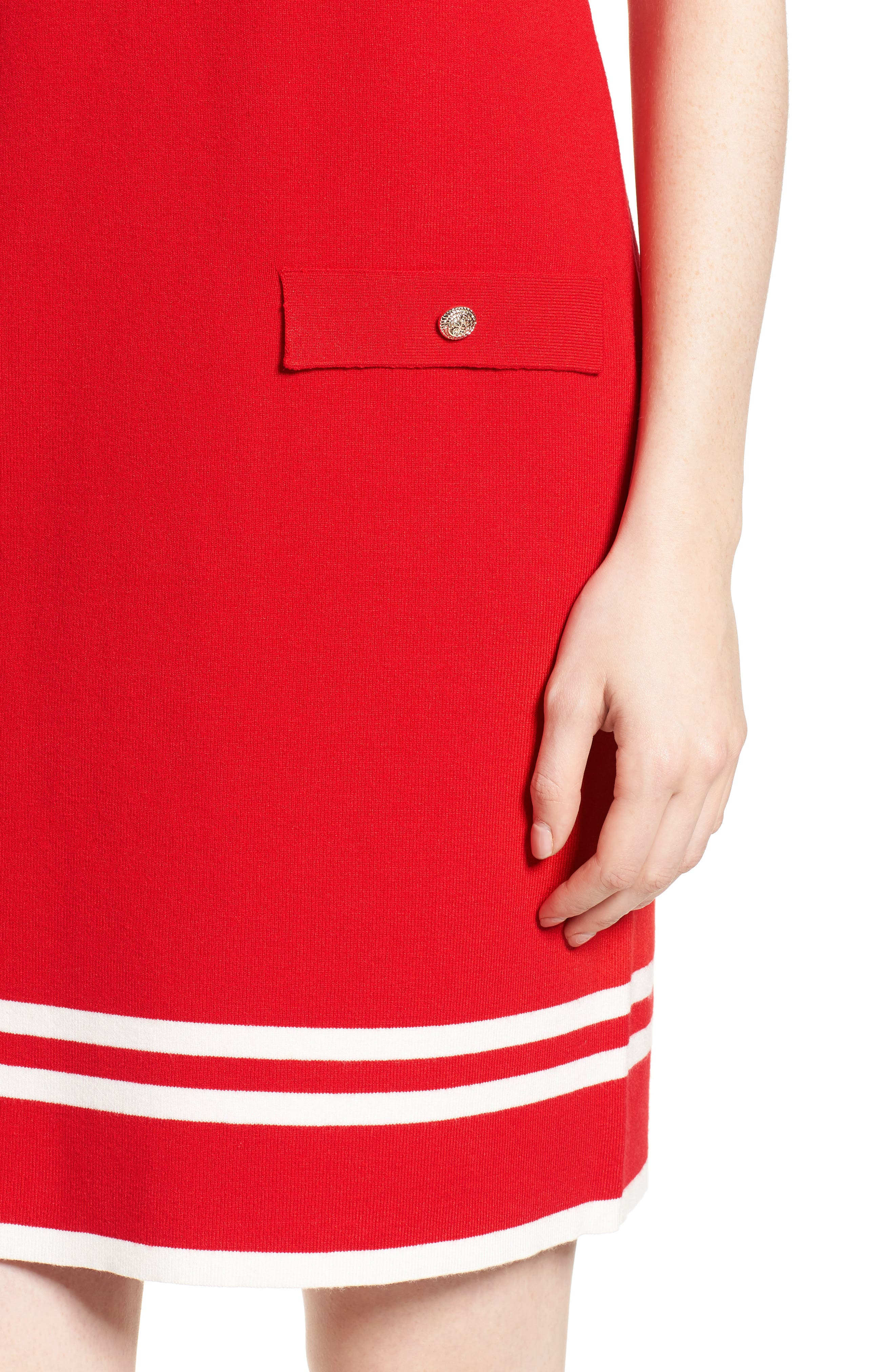 Ann Klein New York Stripe Border Knit Sheath Dress,                             Alternate thumbnail 9, color,