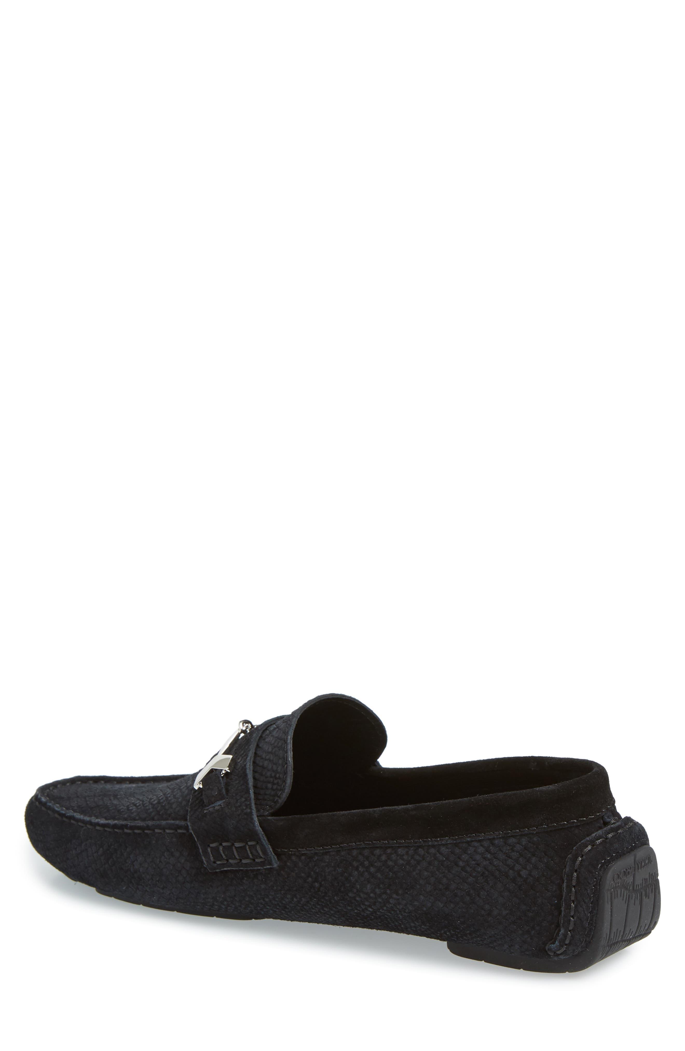 Brewer Croc Textured Driving Loafer,                             Alternate thumbnail 2, color,                             BLACK/BLACK