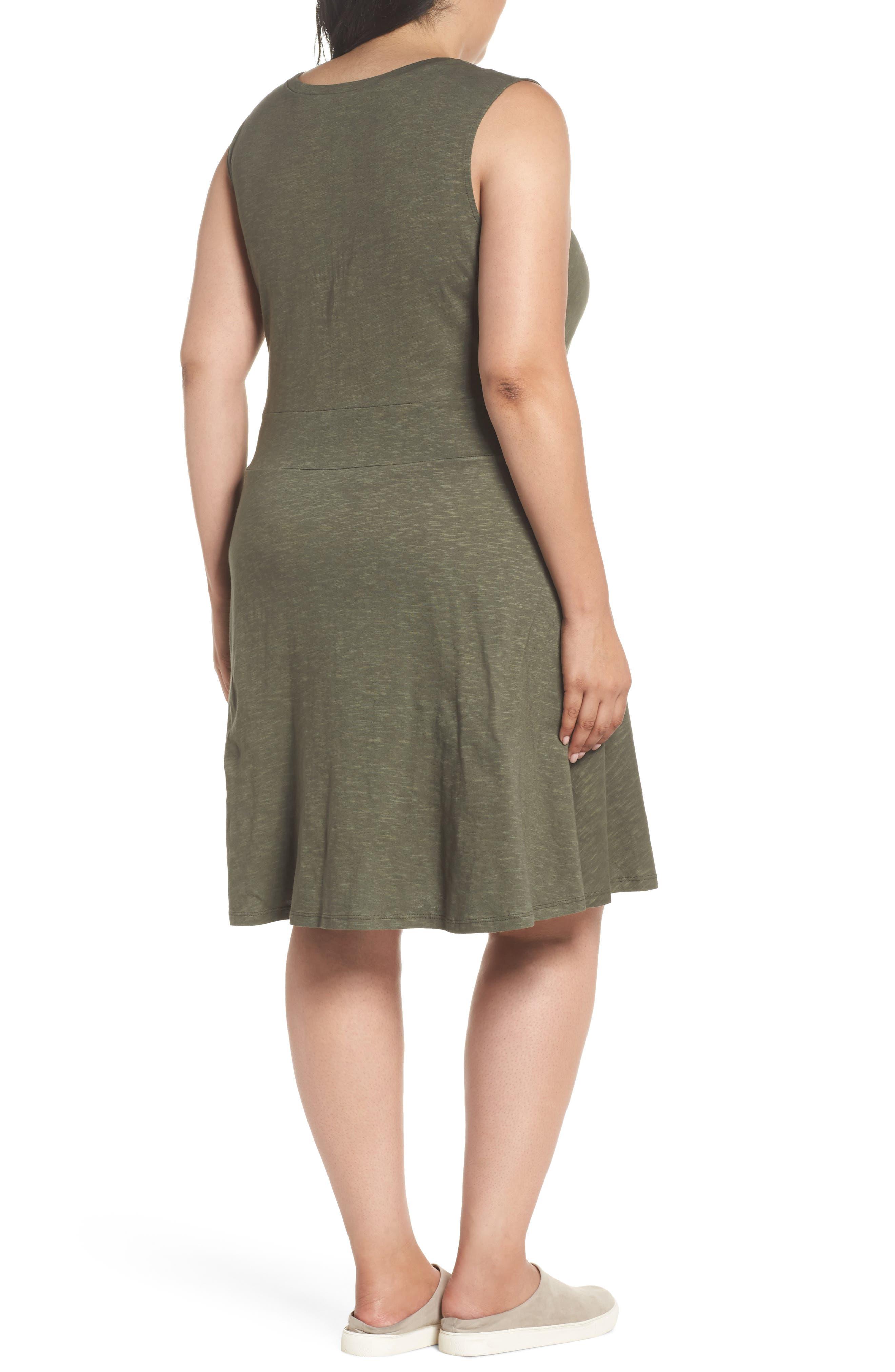 Twist Front Knit Dress,                             Alternate thumbnail 2, color,                             OLIVE SARMA