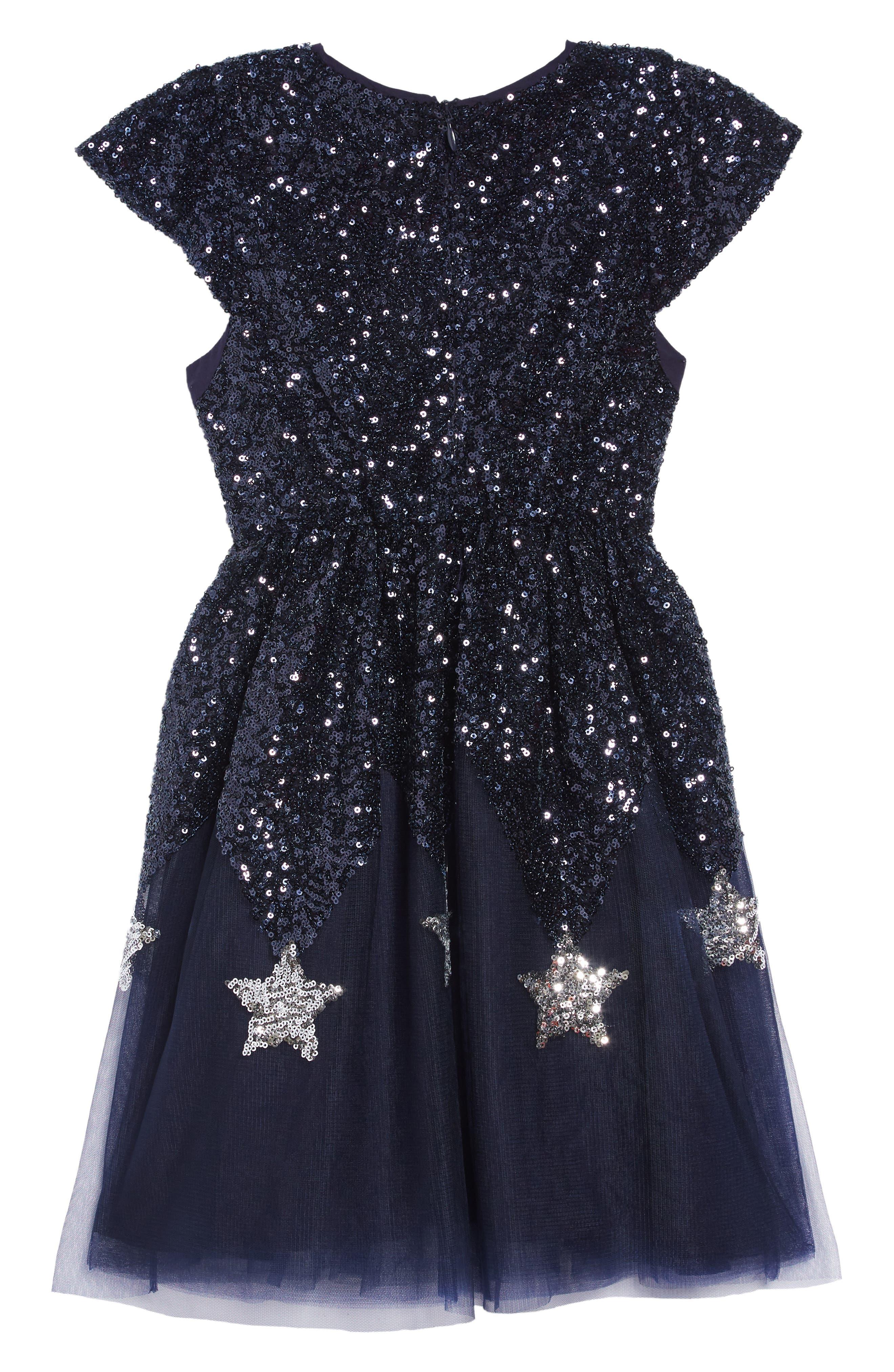 Star Sequin Tulle Dress,                             Alternate thumbnail 2, color,                             NAVY