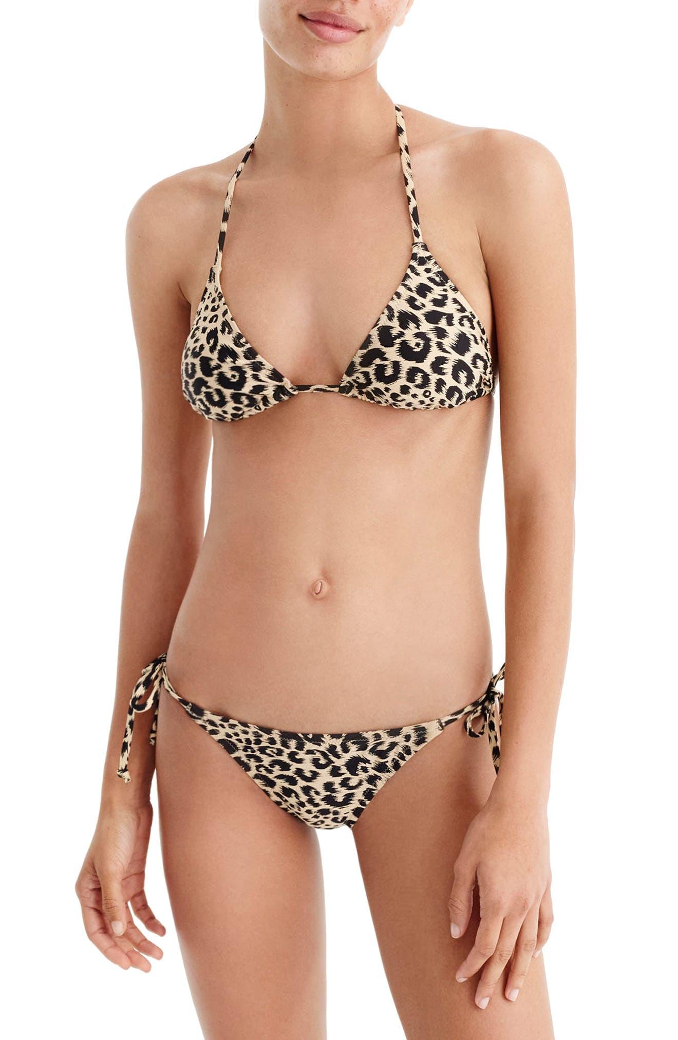 Leopard String Bikini Bottoms,                             Alternate thumbnail 3, color,