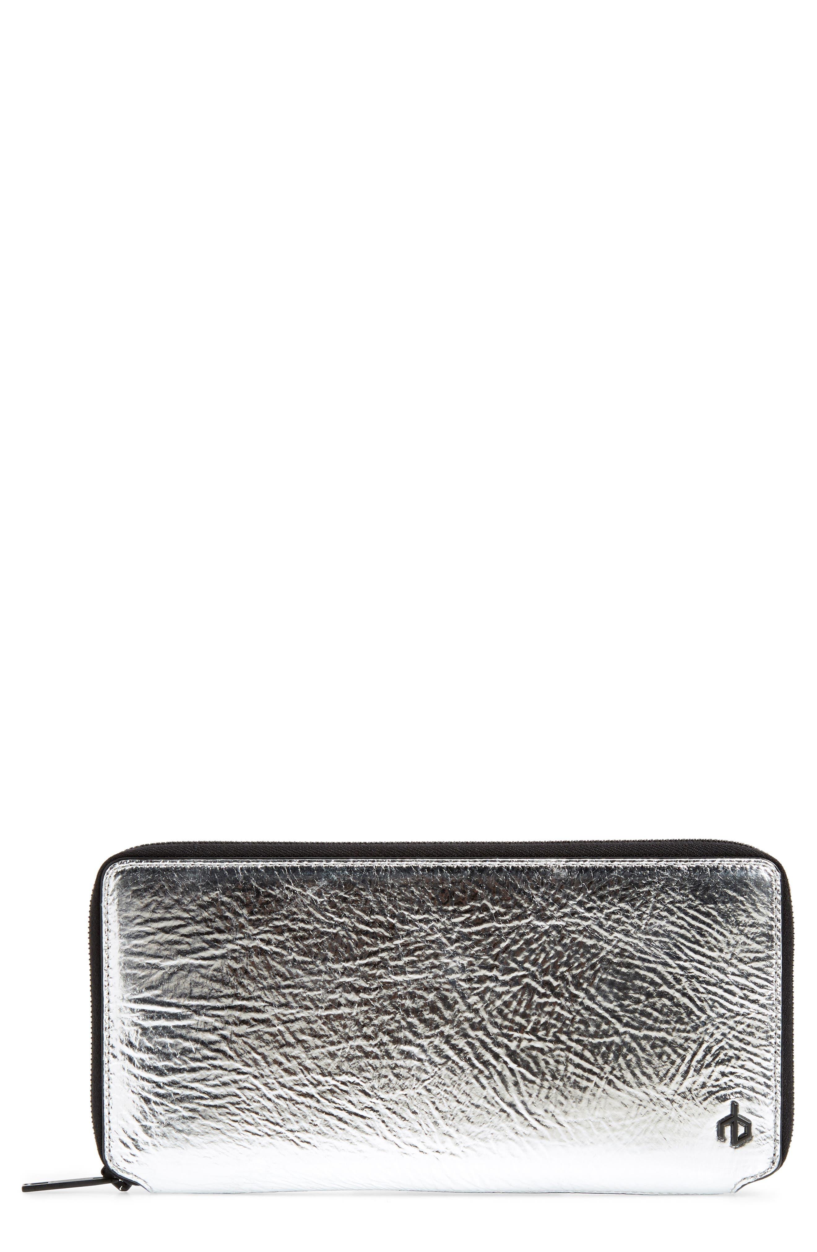 Croc Metallic Lambskin Leather Wallet,                         Main,                         color,