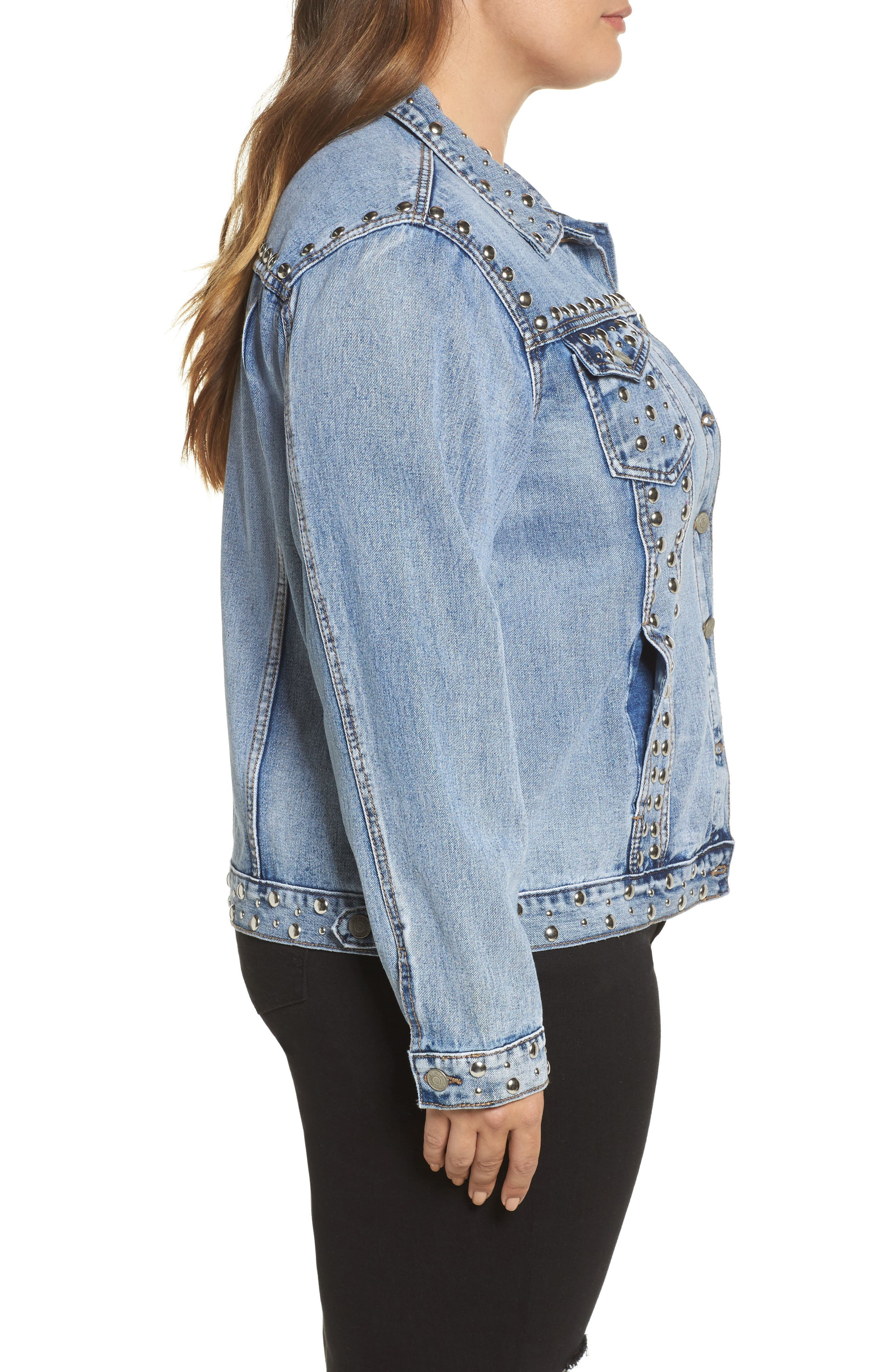 Studded Jean Jacket,                             Alternate thumbnail 3, color,
