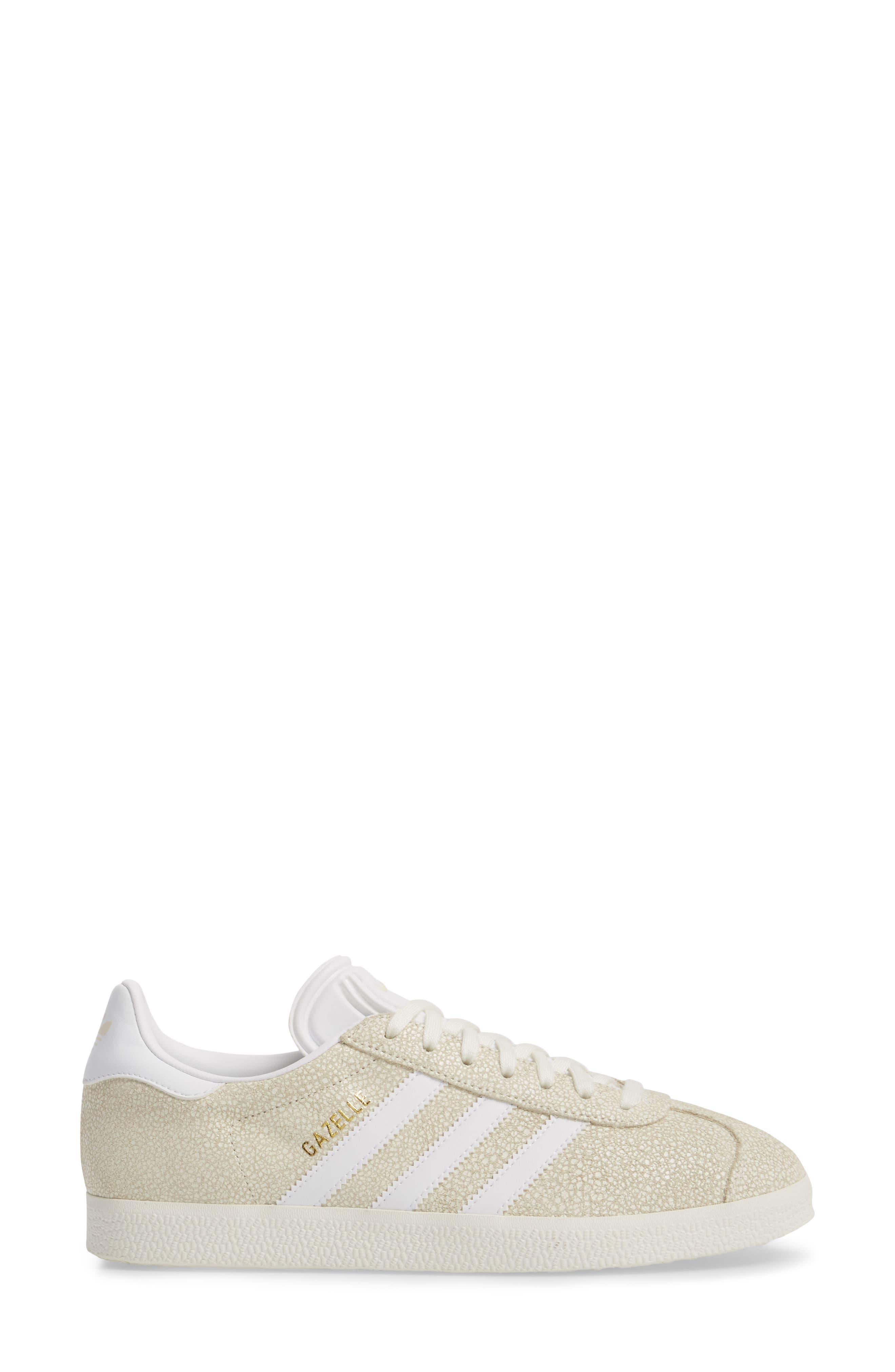 Gazelle Sneaker,                             Alternate thumbnail 3, color,                             OFF WHITE/ WHITE/ OFF WHITE