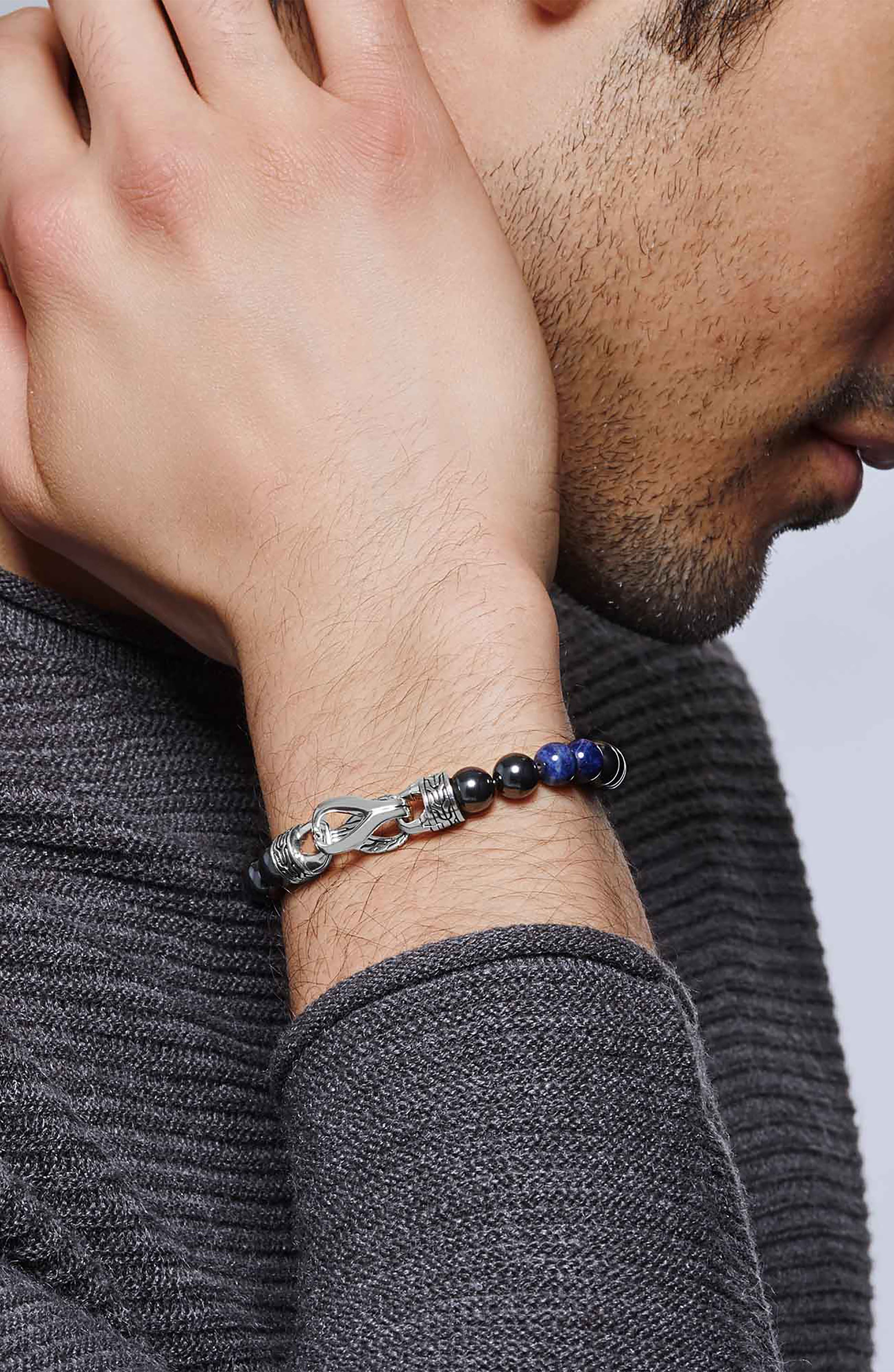 Men's Asli Chain & Stone Bracelet,                             Alternate thumbnail 2, color,                             SILVER