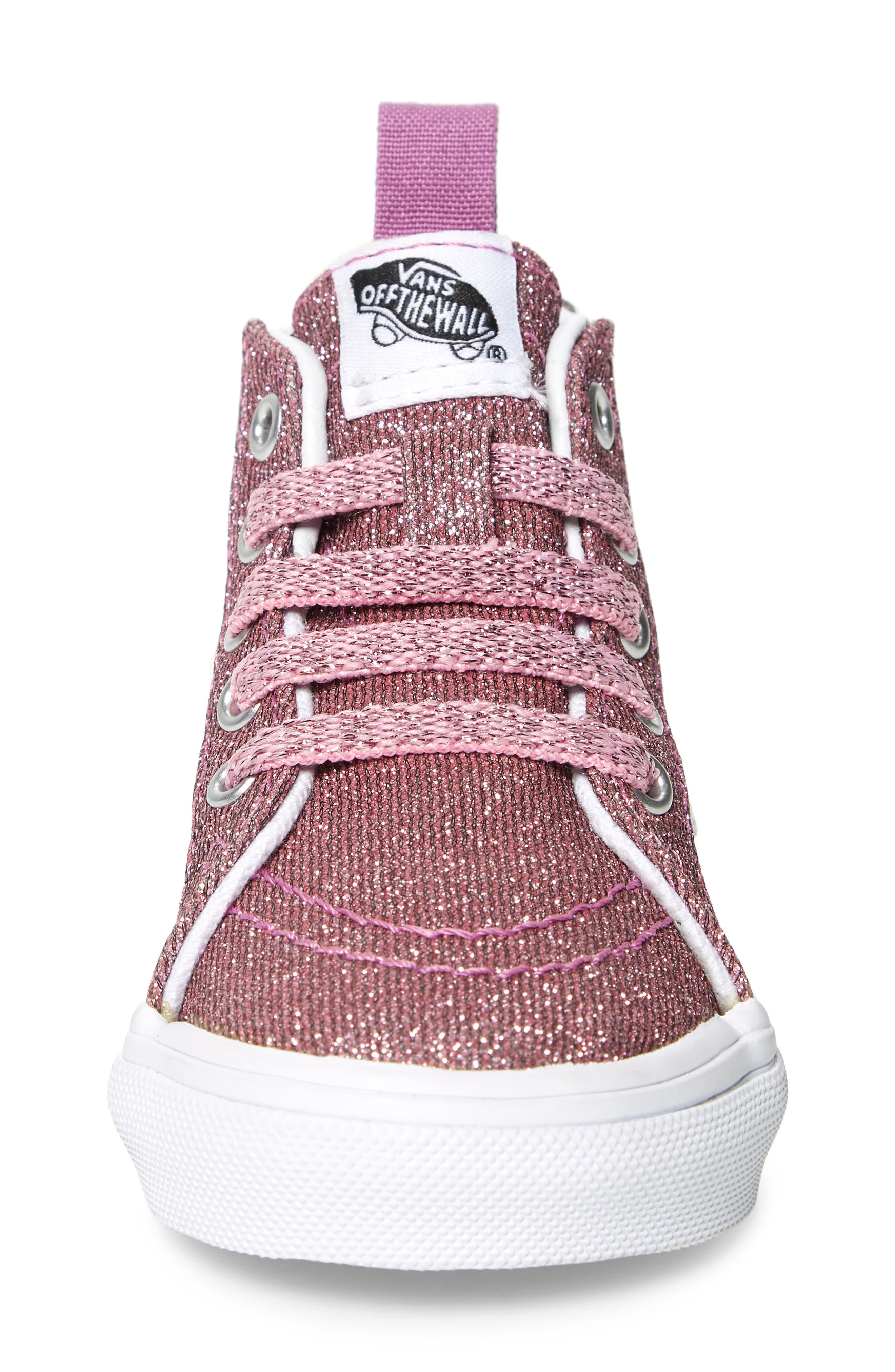 Sk8-Hi Zip Sneaker,                             Alternate thumbnail 4, color,                             LUREX GLITTER PINK/ TRUE WHITE