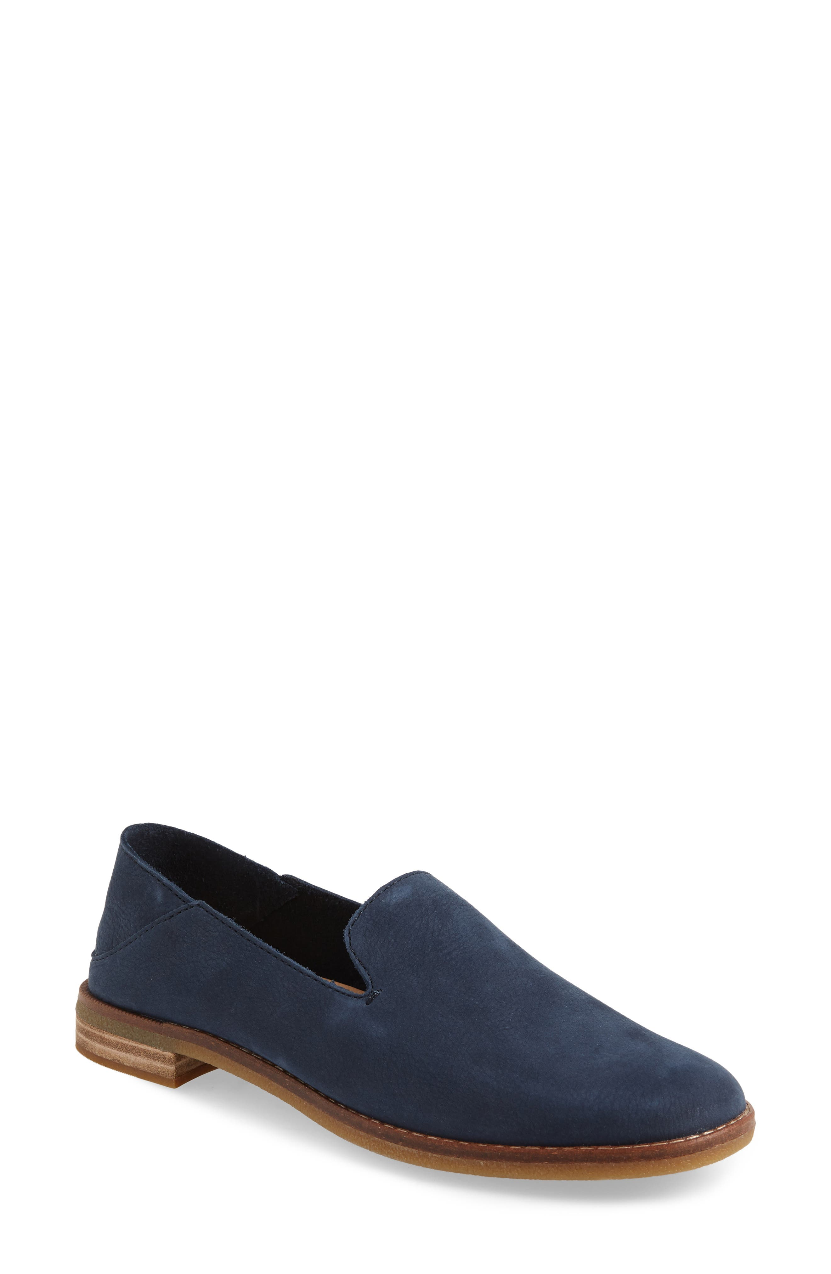 Seaport Levy Flat,                             Main thumbnail 1, color,                             NAVY LEATHER