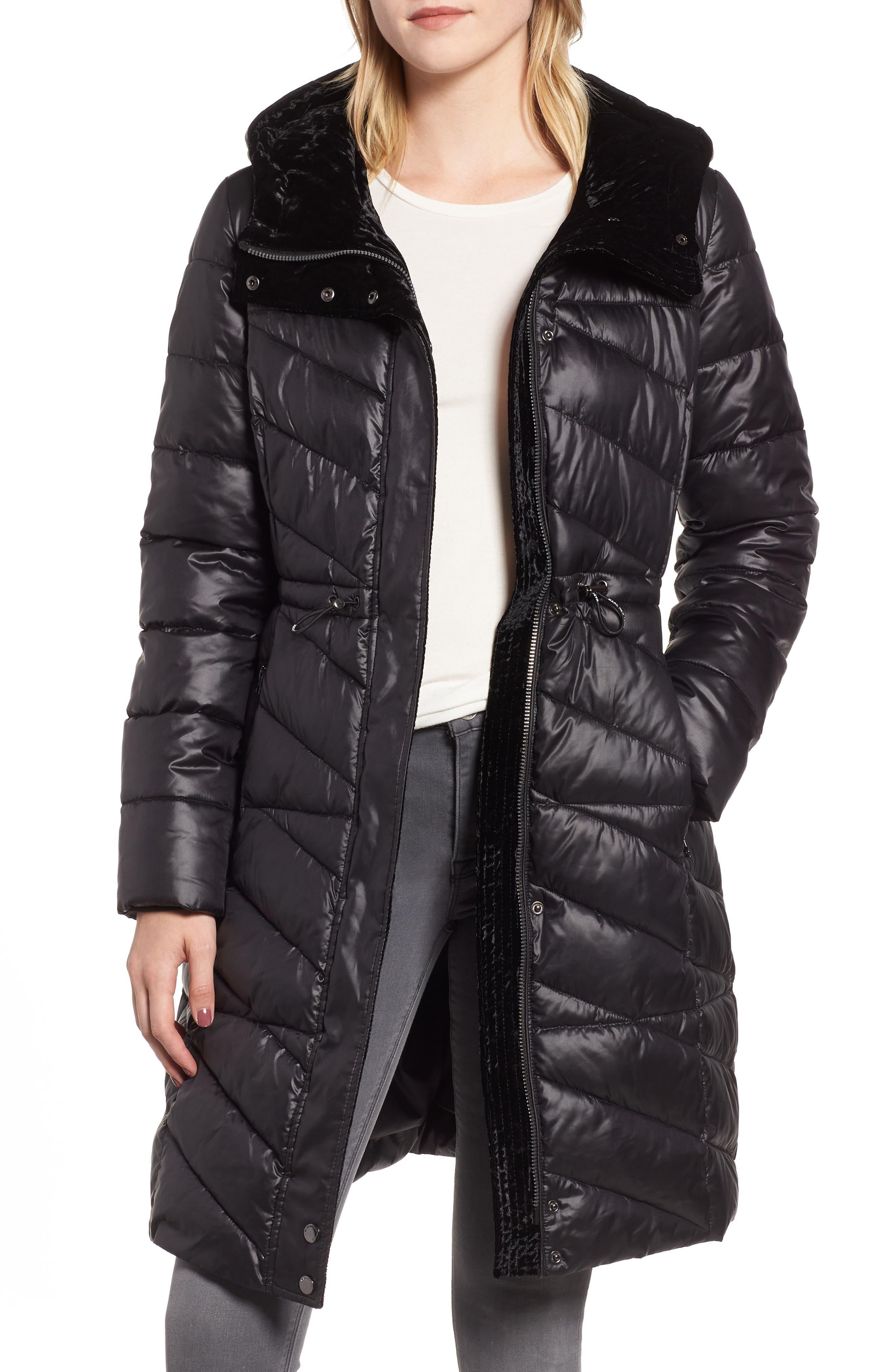 Velvet Trim Quilted Coat,                             Main thumbnail 1, color,                             BLACK
