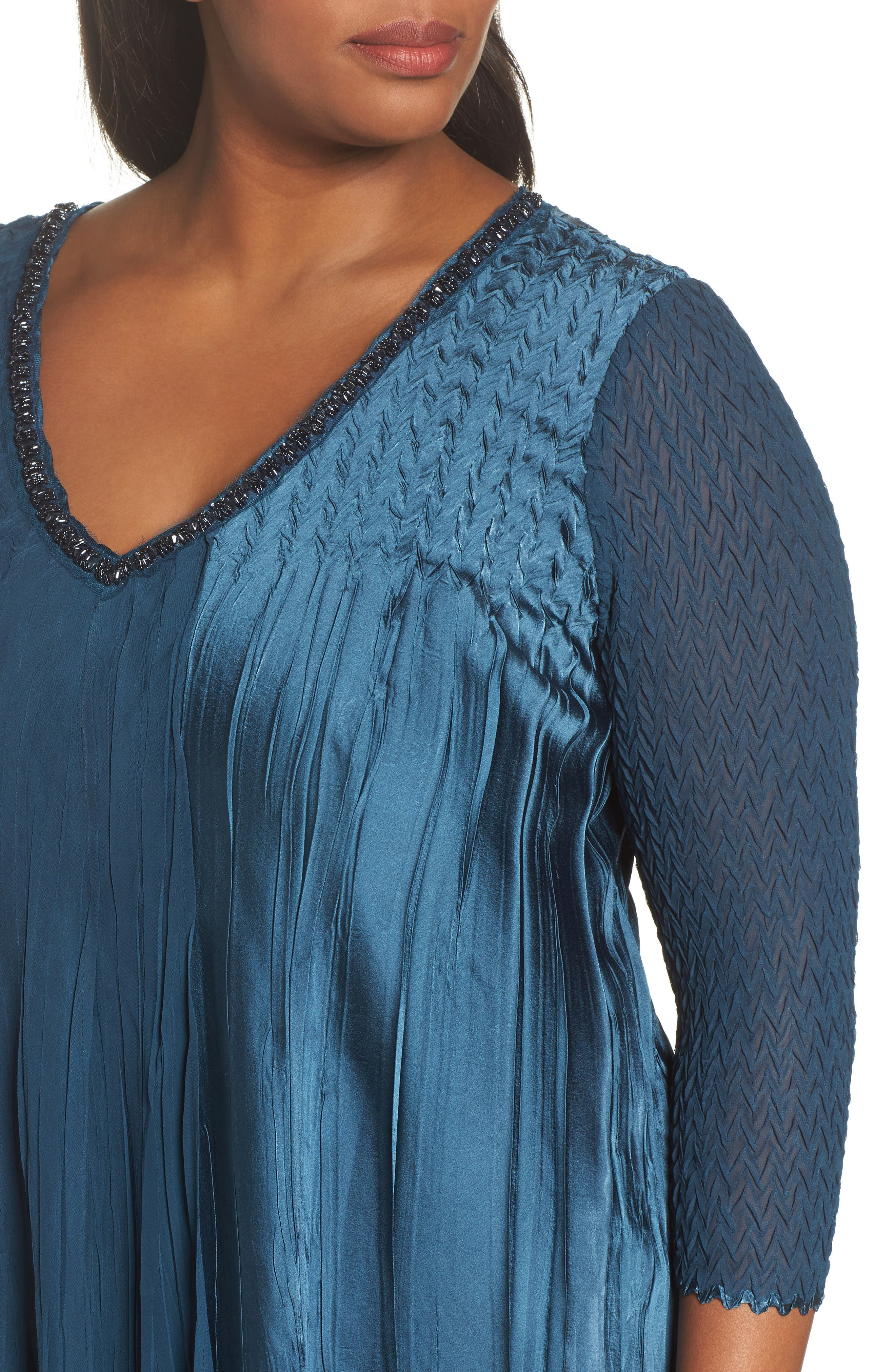 Beaded Neck Chiffon Dress,                             Alternate thumbnail 4, color,                             419