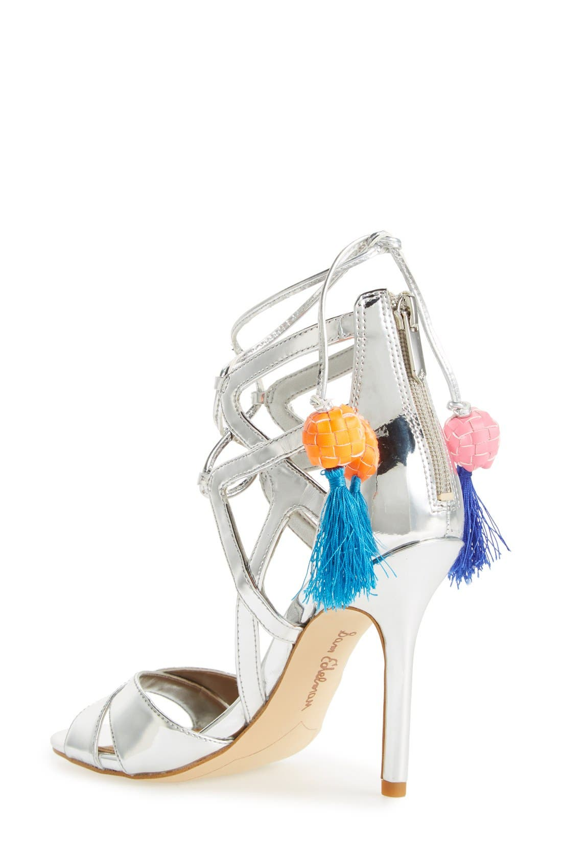 'Azela' Tassel Lace-Up Sandal,                             Alternate thumbnail 4, color,                             040