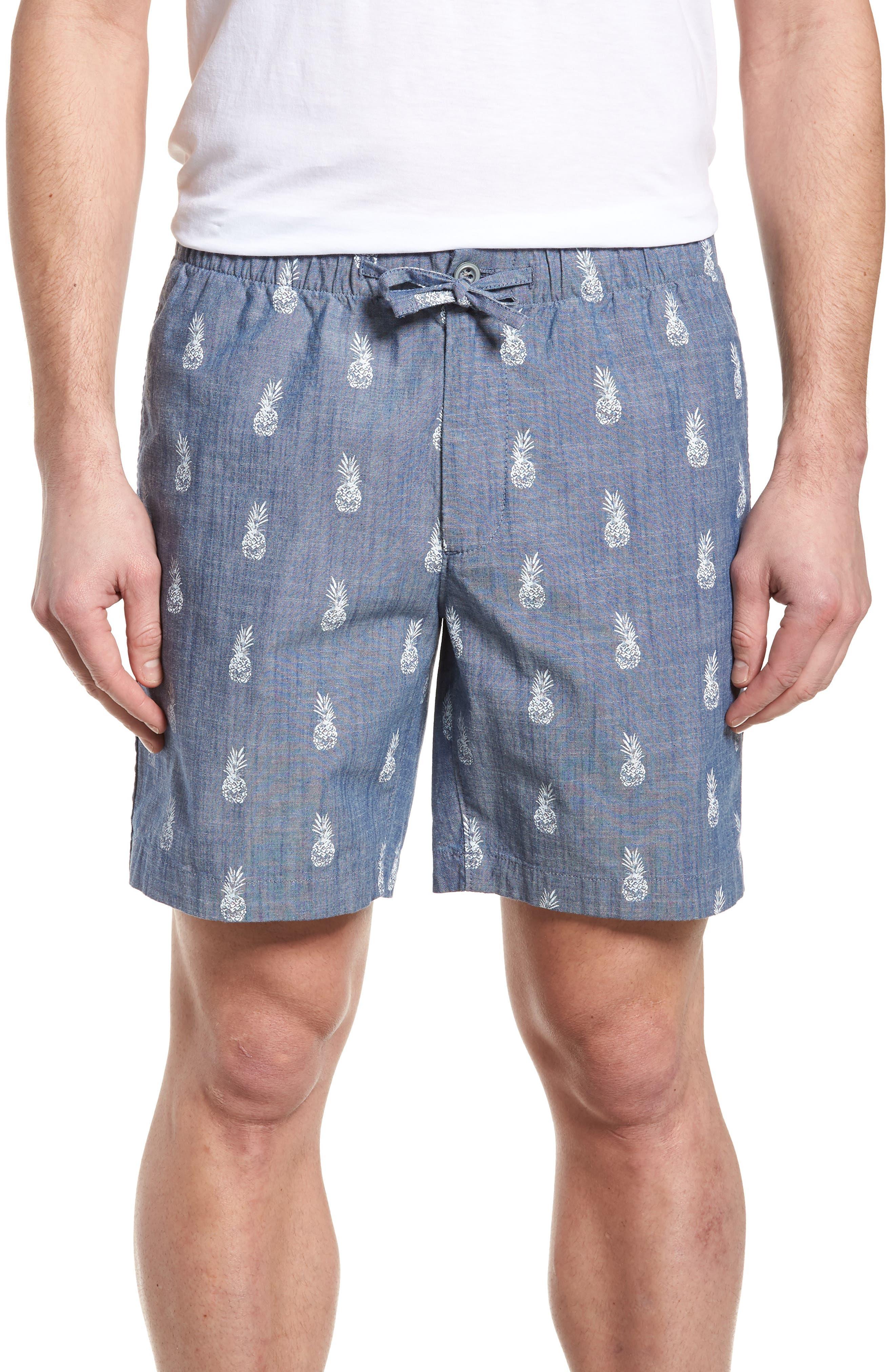 BONOBOS Print Chambray Shorts, Main, color, 400
