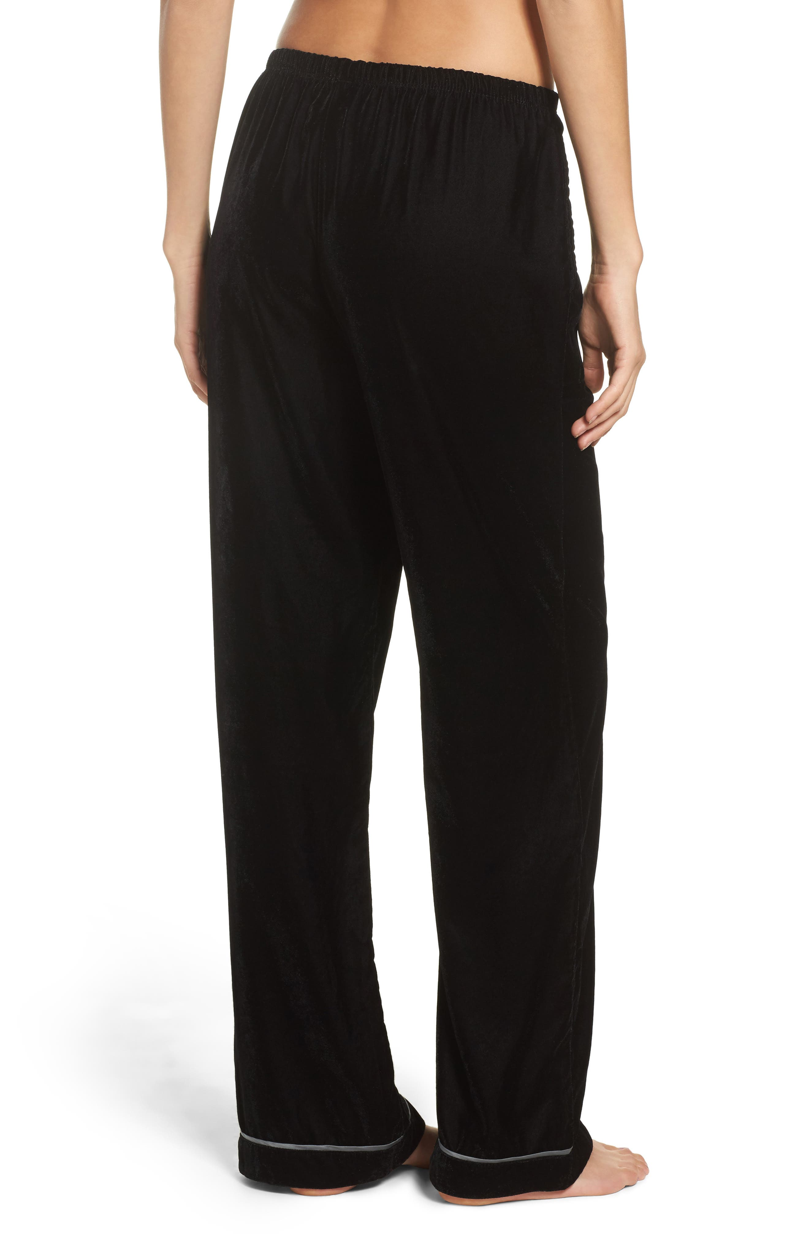 Velvet Pajama Pants,                             Alternate thumbnail 2, color,                             001
