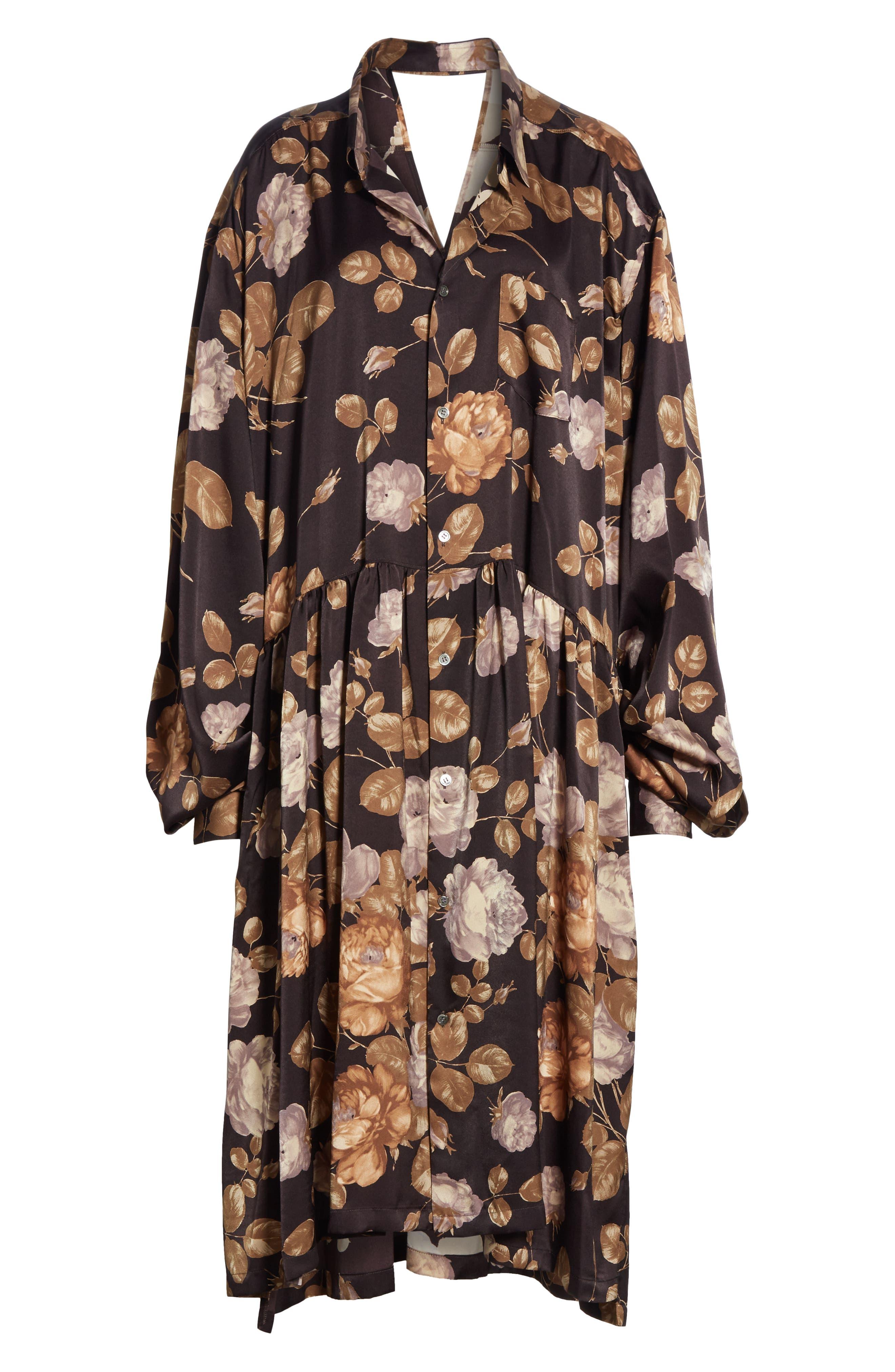 Oversized Shirtdress,                             Alternate thumbnail 7, color,                             BROWN/ BEIGE